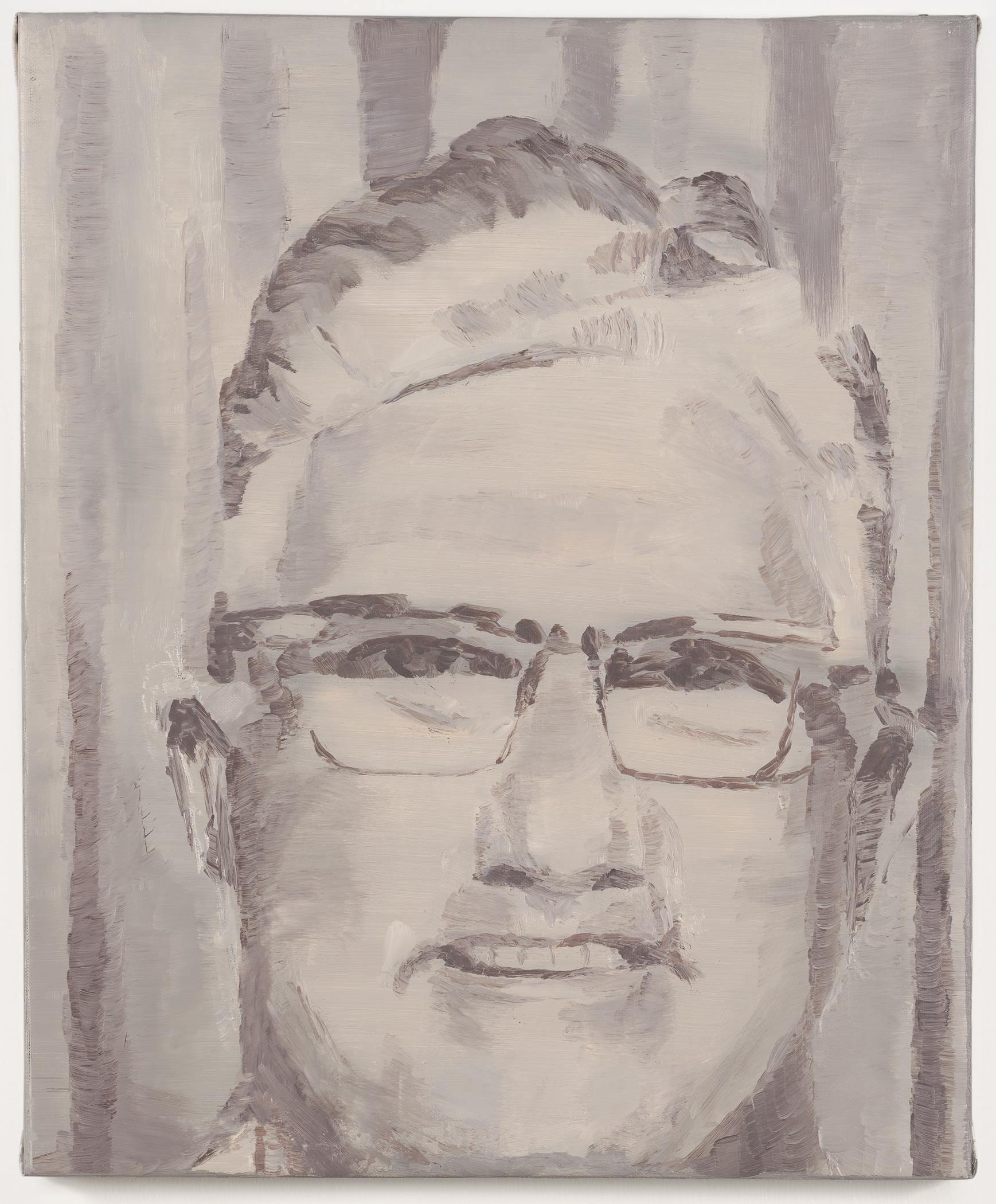 A greyscale portrait painting shows a light-skinned person with short hair and glasses.