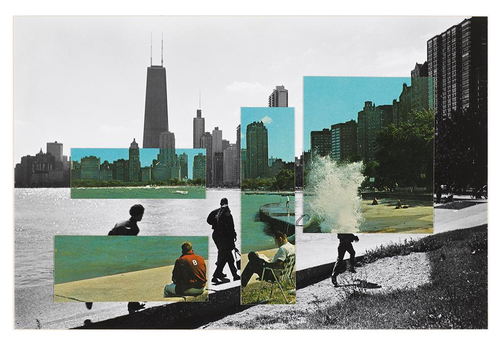 A black-and-white photo of the Chicago skyline from the north shore of Lake Michigan is overlaid with rectangular color image fragments of the same view. The color images add and subtract people from the lakefront view.