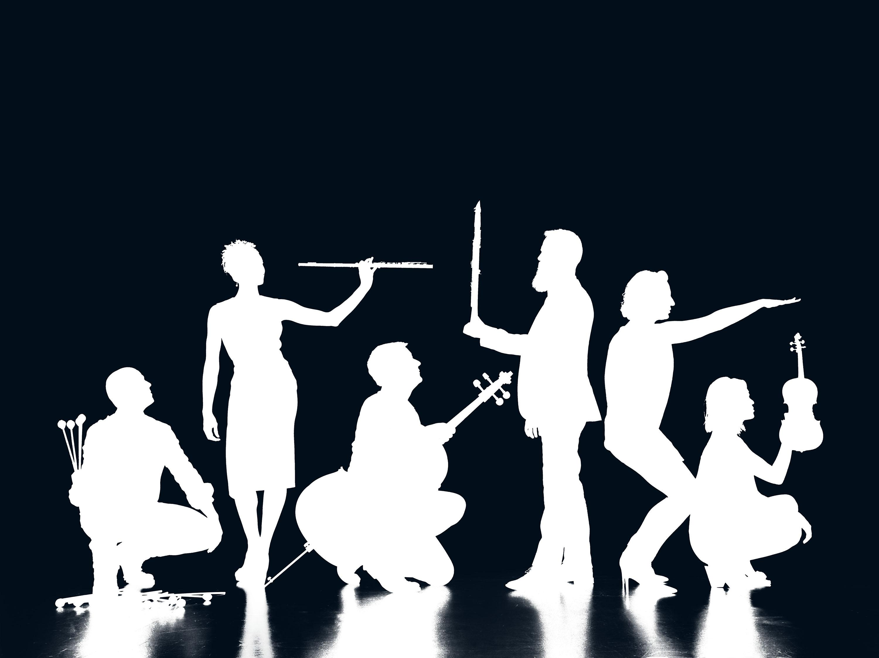 White silhouettes of six people holding instruments against a black background