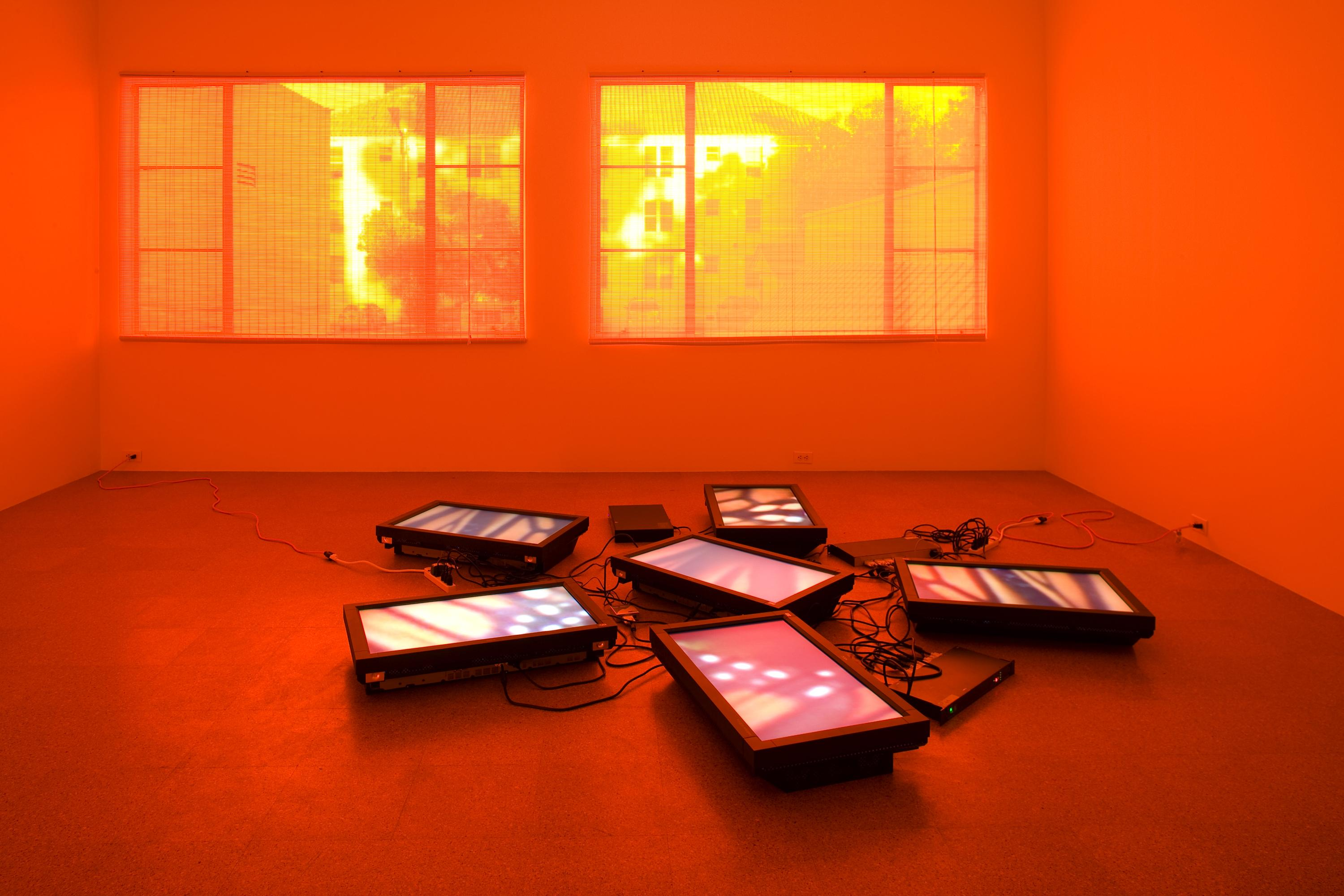 A room, lit up bright orange, contains five flat screen monitors and their cables on the floor. Each screen shows a close-up image of a butterfly wing.
