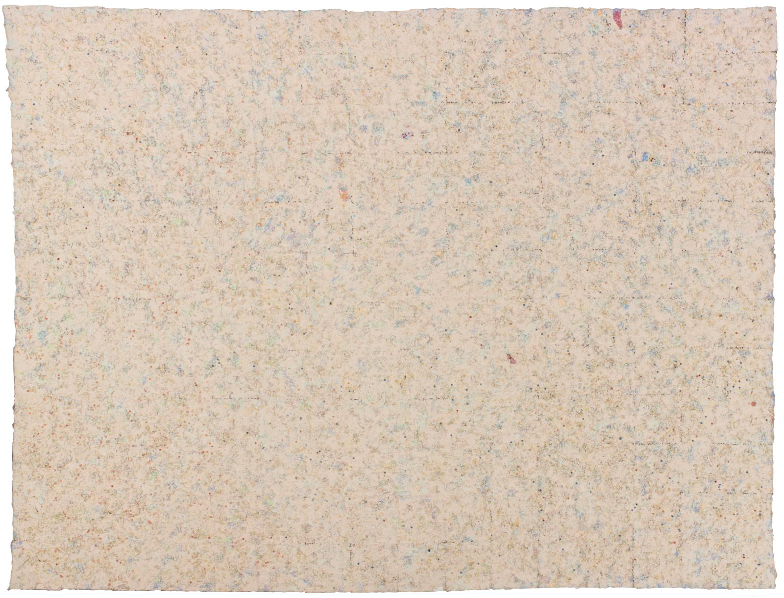A primarily beige-looking canvas is actually composed of many small dots of light blues, pinks, oranges, and purples.