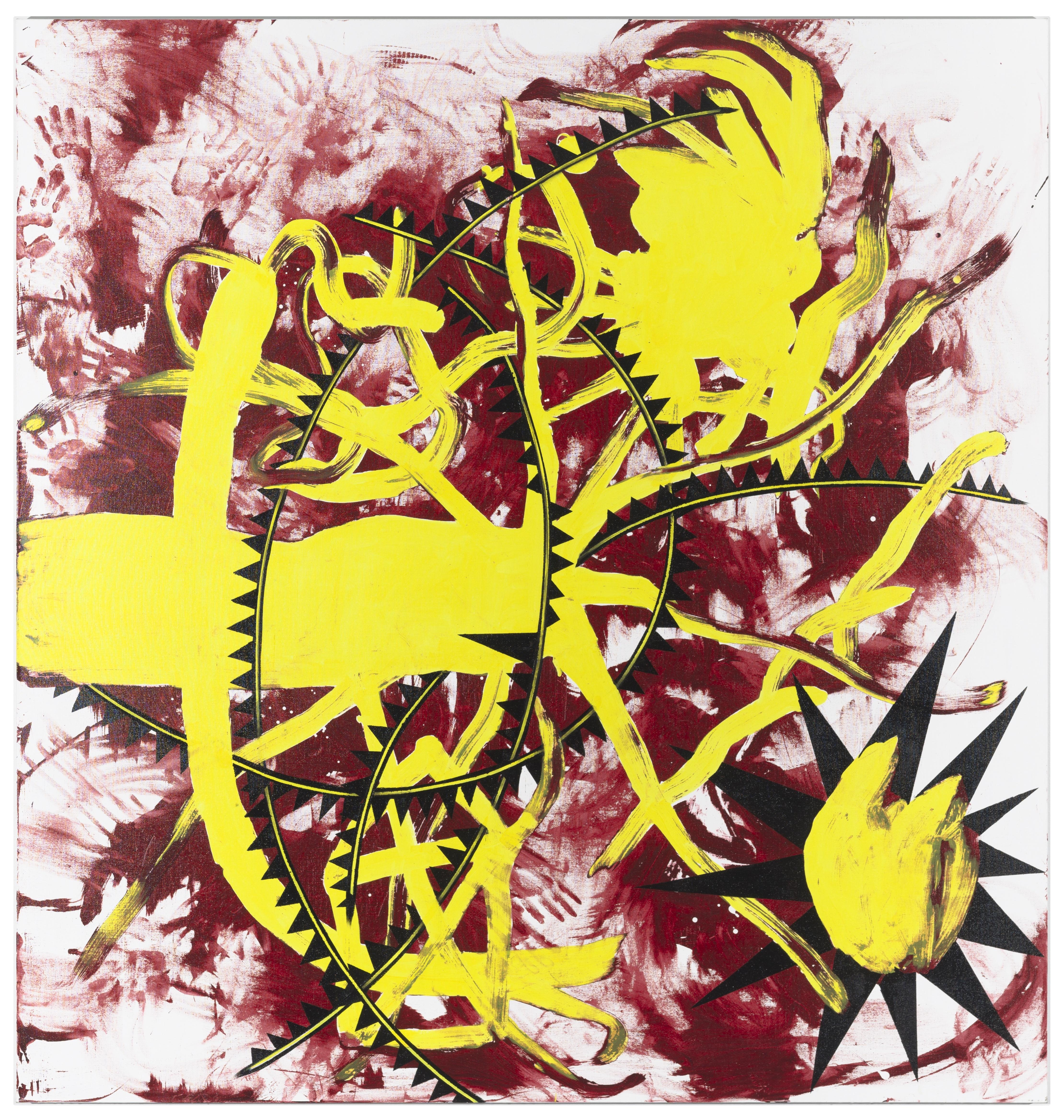 Bright yellow organic shapes with black triangles of varying sizes appear in the foreground of this painting, while red streaks and smeared handprints appear in the background.
