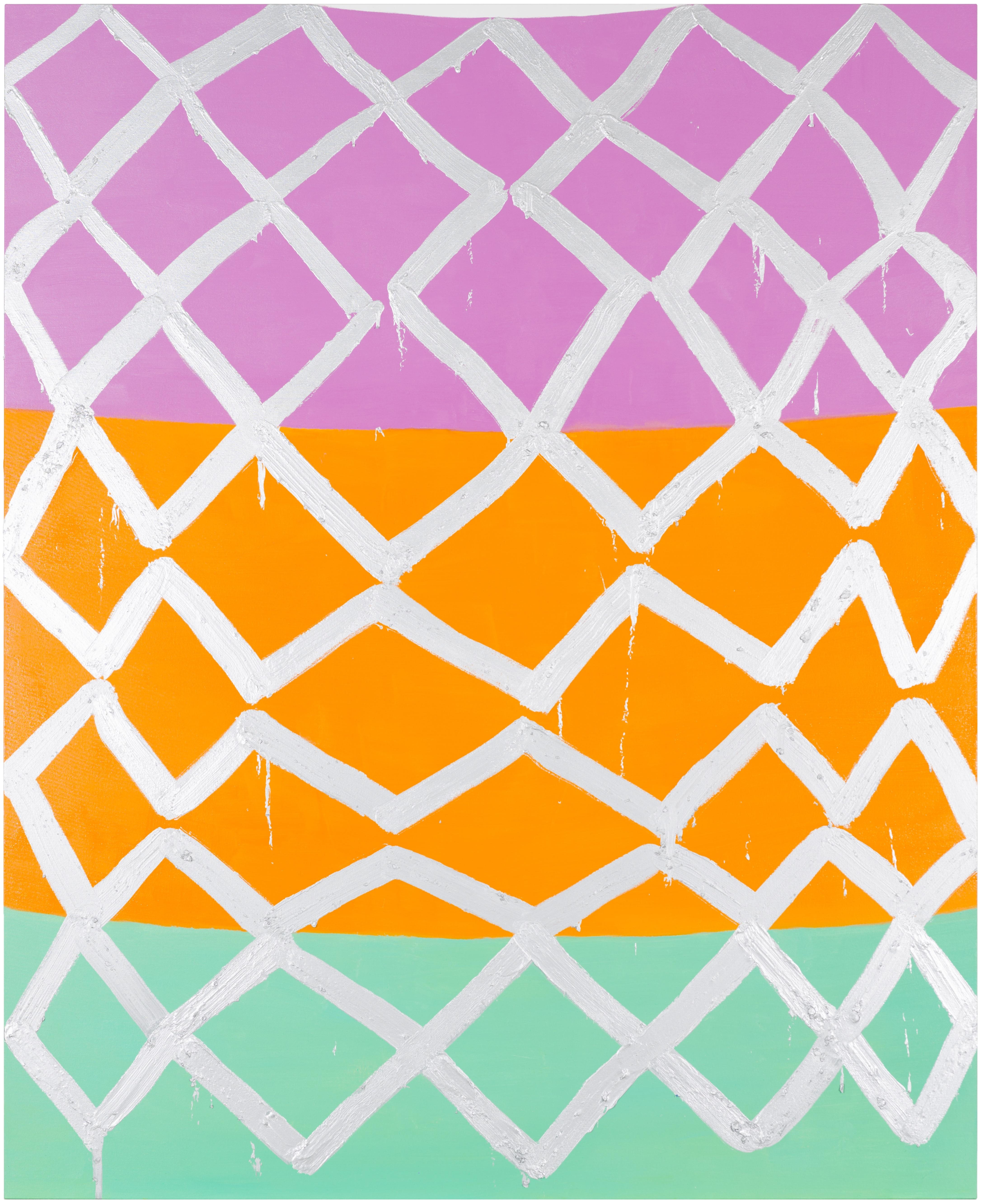 A triangular grid of irregular white lines is painted over three vertically stacked fields of flat color. From top to bottom, the color fields are lilac, orange, and sea-foam green.