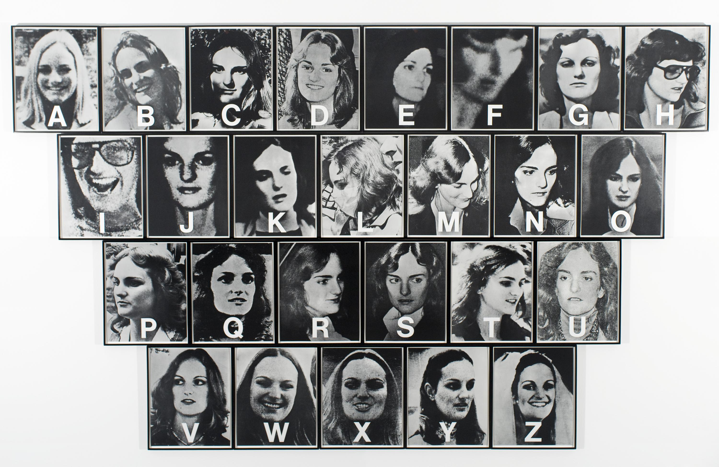 Twenty six black-and-white photographs of Patricia Hearst in four rows, with a letter of the alphabet—from A to Z—in white superimposed over each one.
