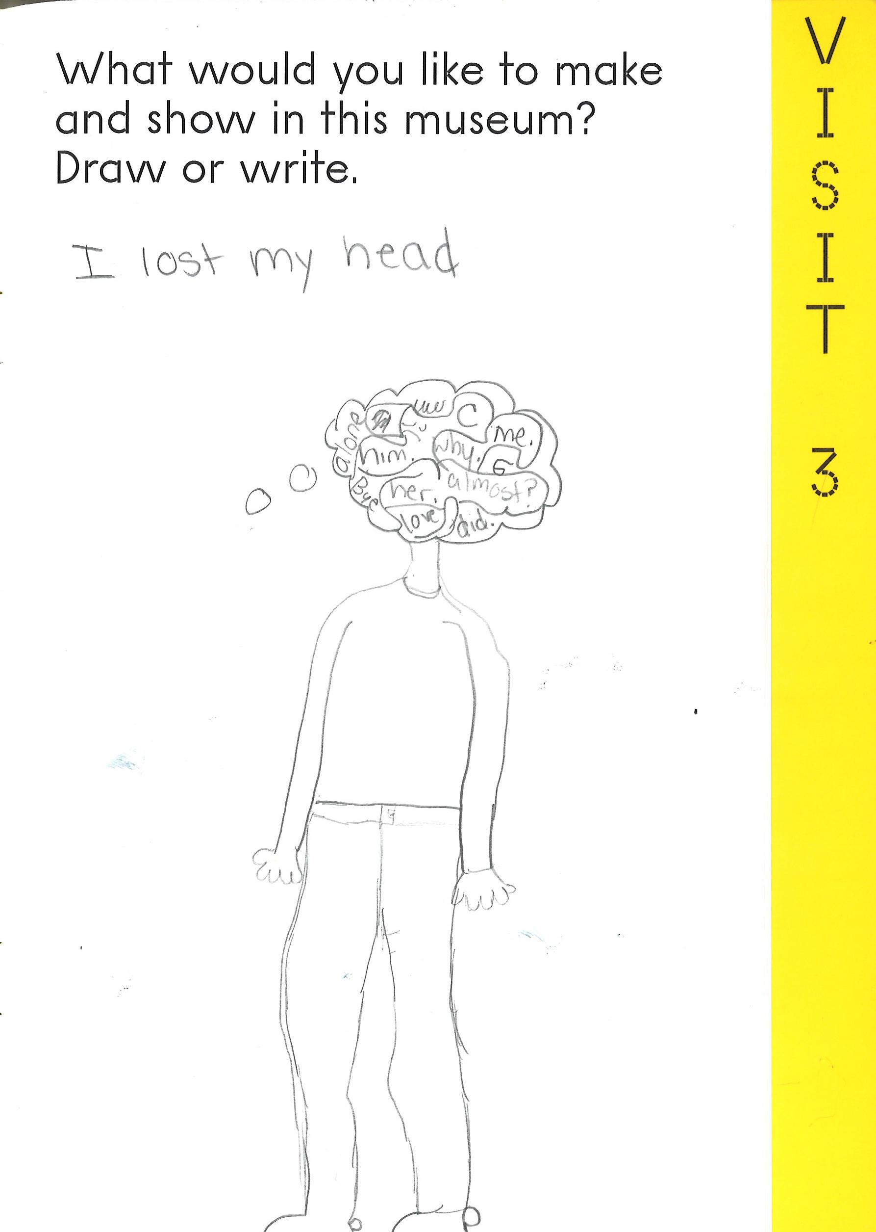 """Scanned page from a children's activity book shows a pencil drawing of a person with words in his/her head, in response to the prompt: """"What would you like to make and show in this museum Draw or write."""""""