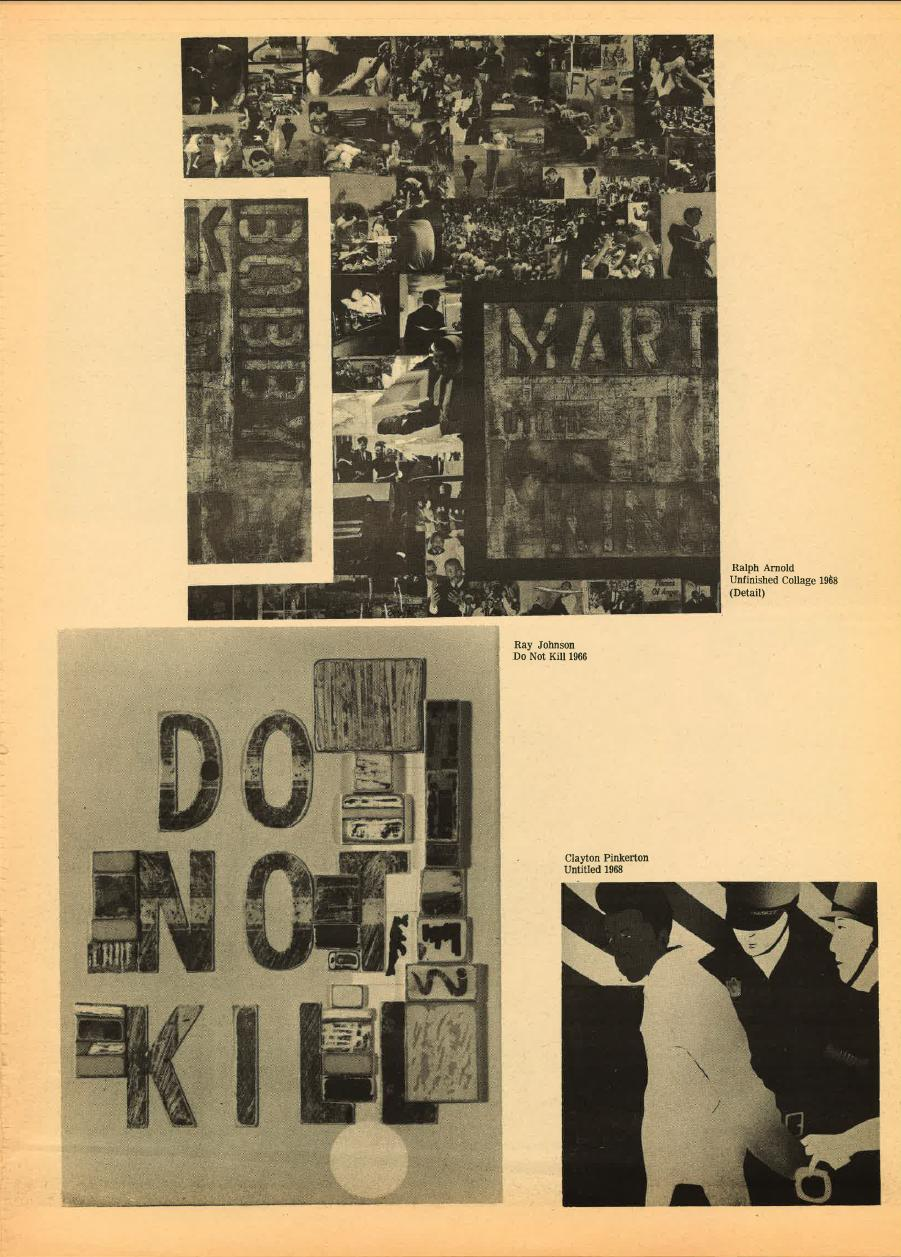 Scan of aged and yellowed news print with printed artworks, top center Ralph Arnold's *Unfinished Collage*, 1968 (detail), bottom left Ray Johnson's *Do Not Kill*, 1966 and bottom right Clayton Pinkerton's *Untitled,* 1968.