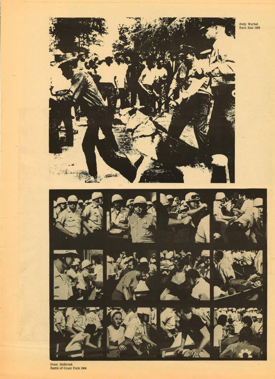 Scan of aged and yellowed news print with printed artworks, top photograph of Andy Warhol's *Race Riot,*1963 and bottom of Peter Holbrook's *Battle of Grant Park*, 1968.