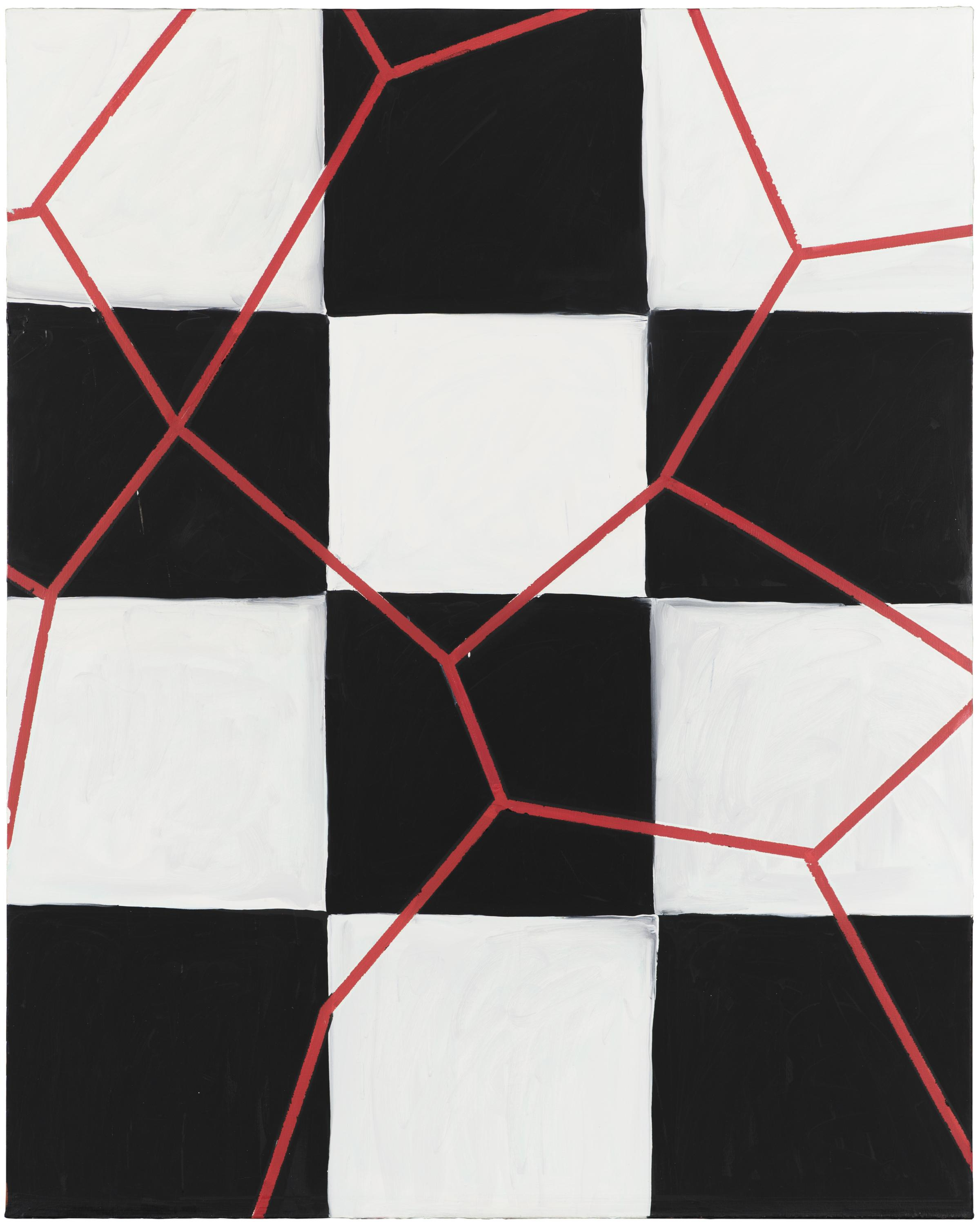 A vertical grid of black and white squares has an irregular web of thin, straight red lines painted over it.