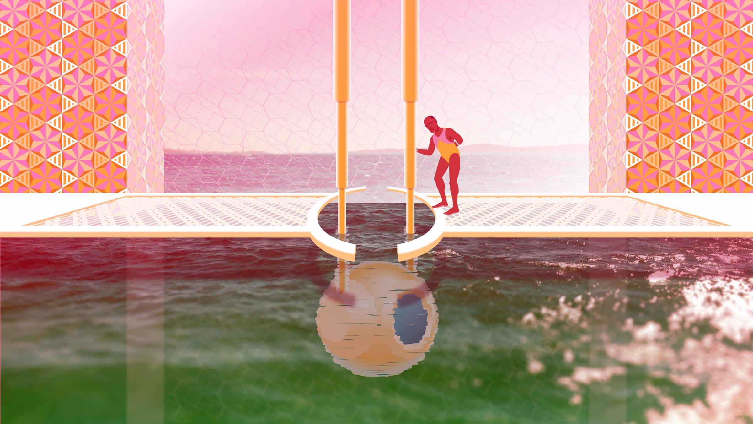 In this animation still, a swimmer gazes into a body of green water.