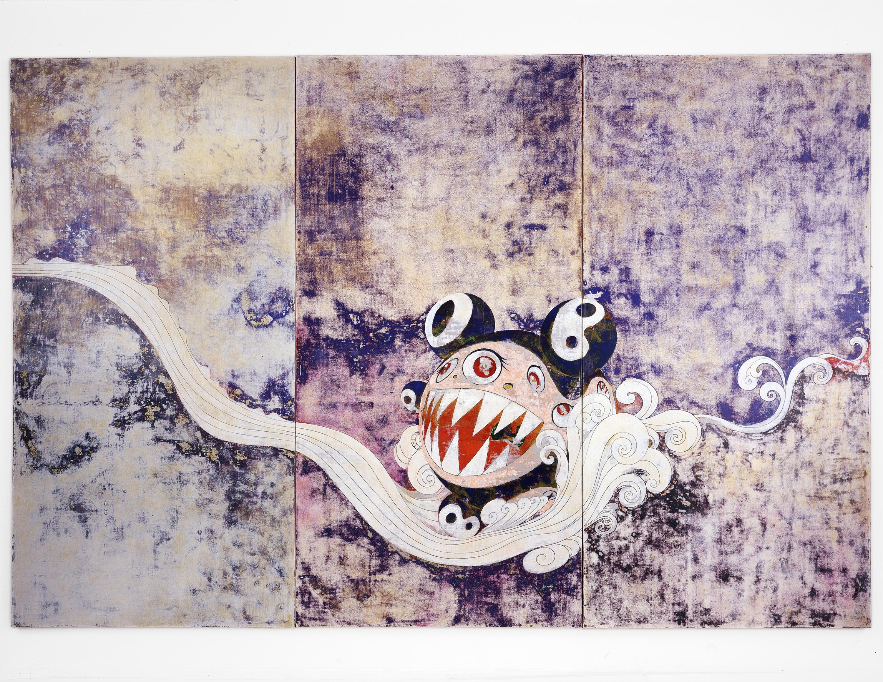 A horizontal expanse of abraded blues, purples, and beige, across which a stylized white stream meanders. A red, white and blue bulbous creature wtih jagged white teeth and resembling Mickey Mouse appears to ride the currents of the stream.