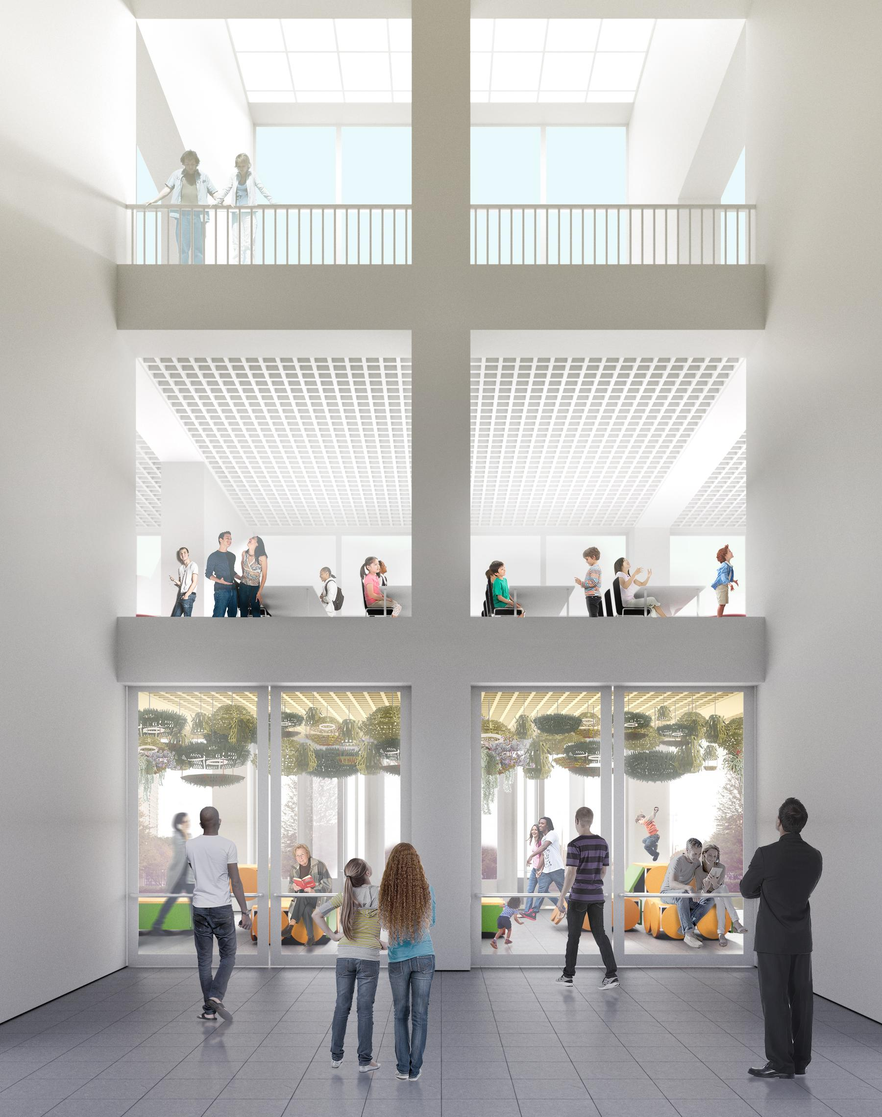A graphic rendering of a three-story atrium with white walls and windows that shows people on each level.