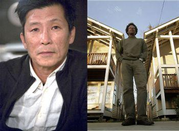 Two portraits side-by-side. On the left, an Asian man in a white collared shirt and black pullover looks directly into the camera. On the right, an African-American man stands behind and between two houses, his hands in his pockets.