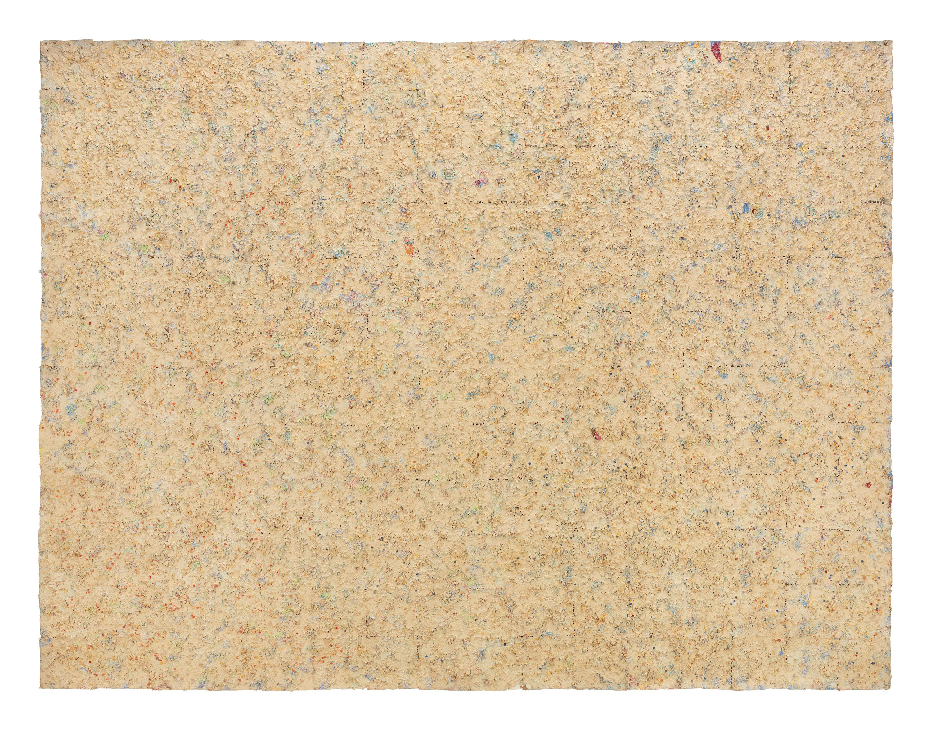 A rectangular, primarily beige surface is mottled with many other small areas of color, including light blue, light purple, light green, orange, and crimson.