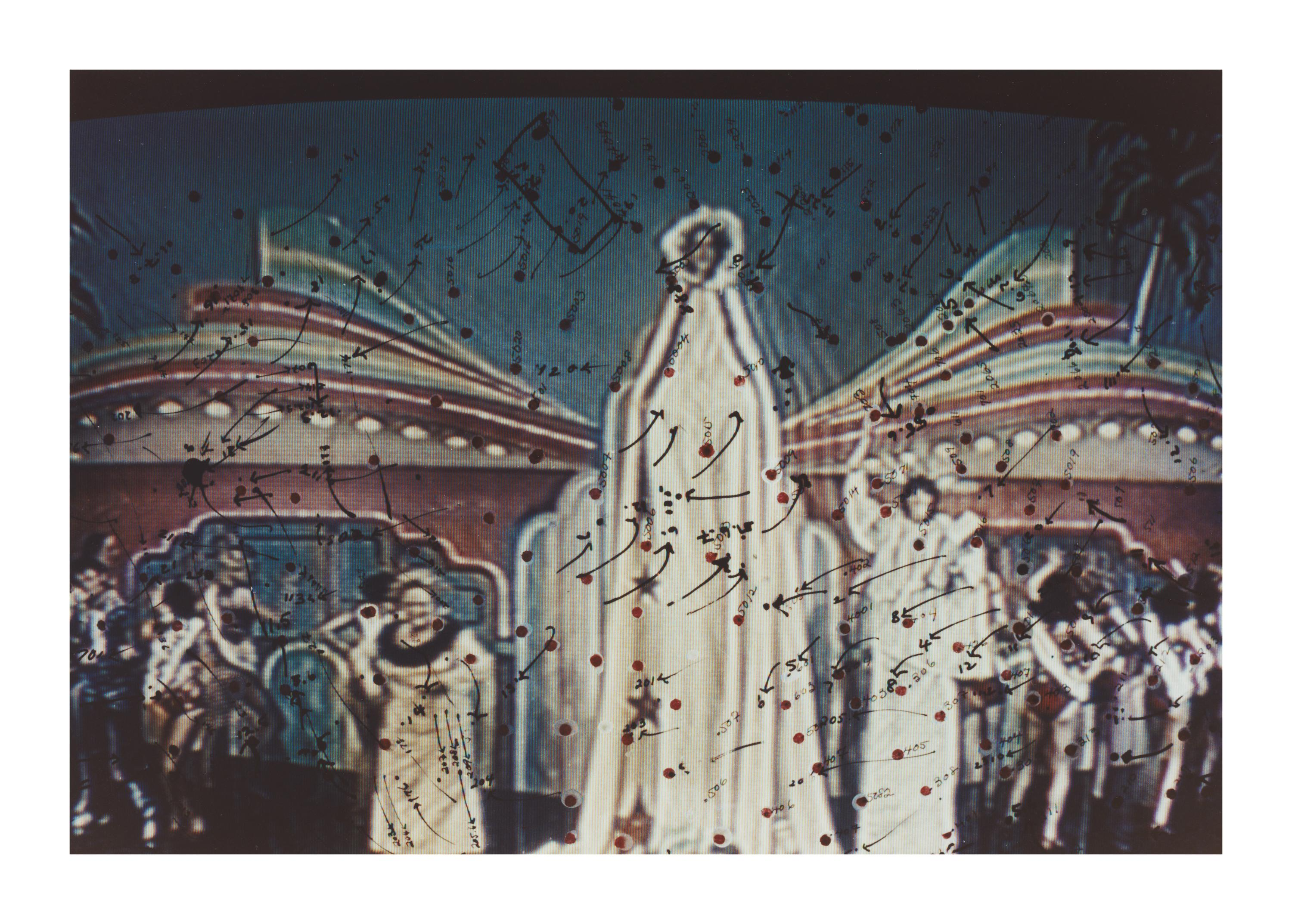A tall, human-like form wearing white robes, is surrounded by multiple other humanoid figures Dozens of marks including arrows, dark red dots, and numbers appear to be hand-drawn over the image.
