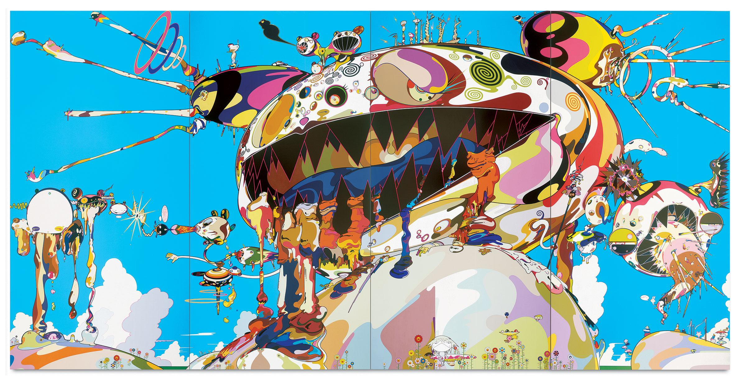 A brightly colored landscape with a giant multi-colored humunculous sitting on top of a hill, its open mouth revealing jagged teeth, seeping fluids while pustules explode from other parts of its ovoid head.