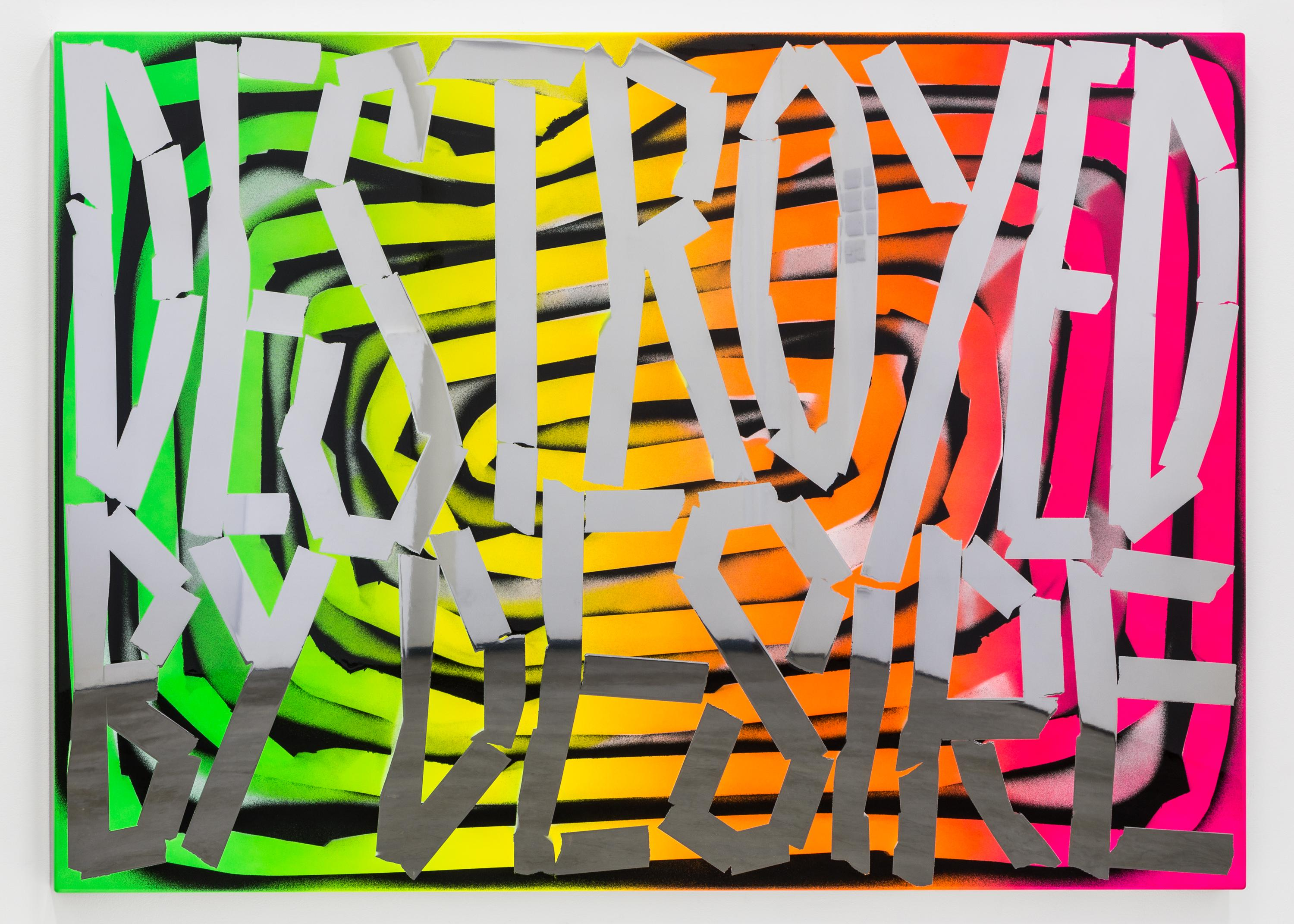 """Large jagged letters that read """"DESTROYED BY DESIRE"""" appear over a crude spiral of fluorescent green, yellow, orange, and pink."""