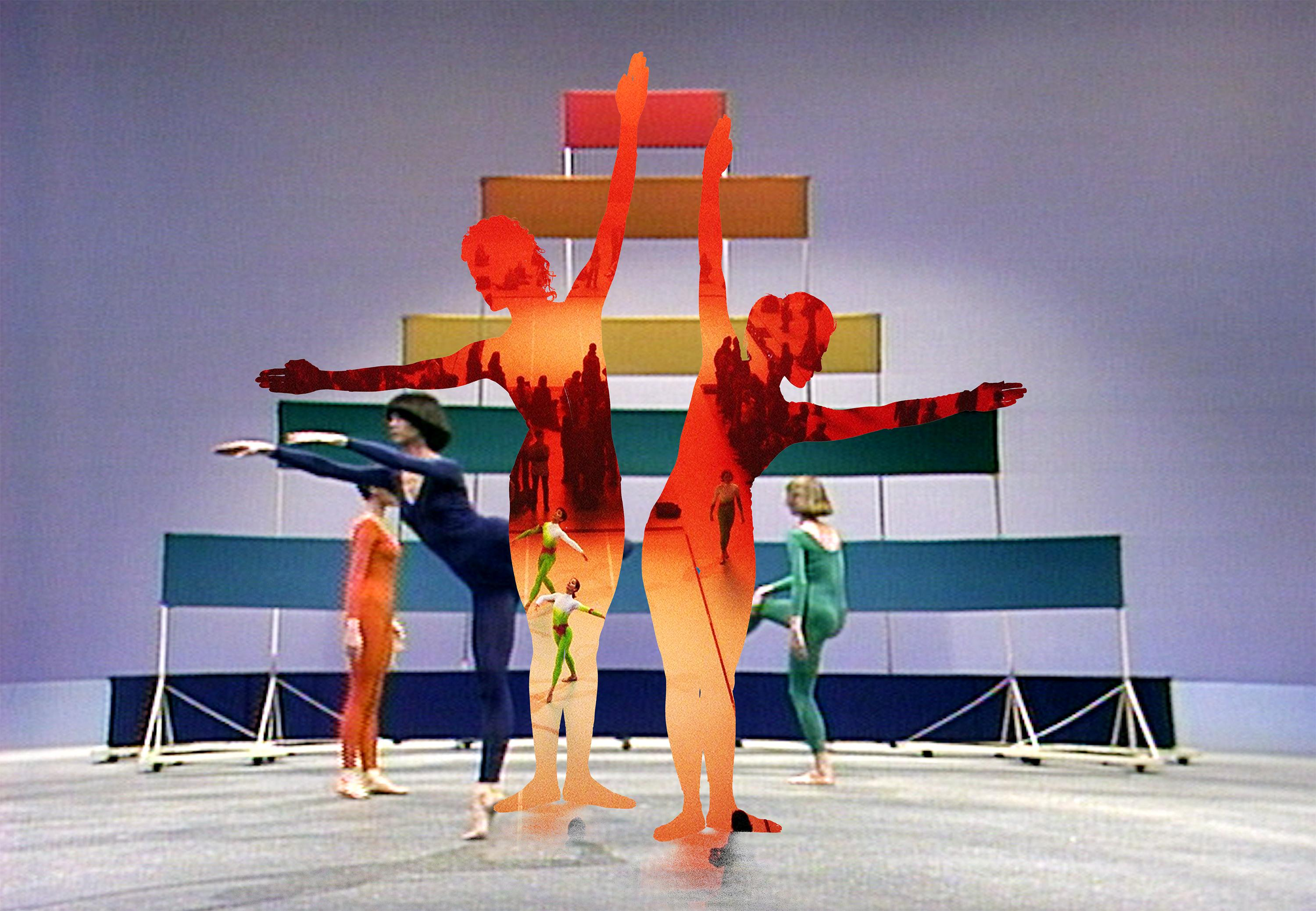 Three dancers in colorful leotards and a triangular structure of colored banners are covered by two dancers' silhouettes that reveal an orange-red room with three dancers and crowds of people.