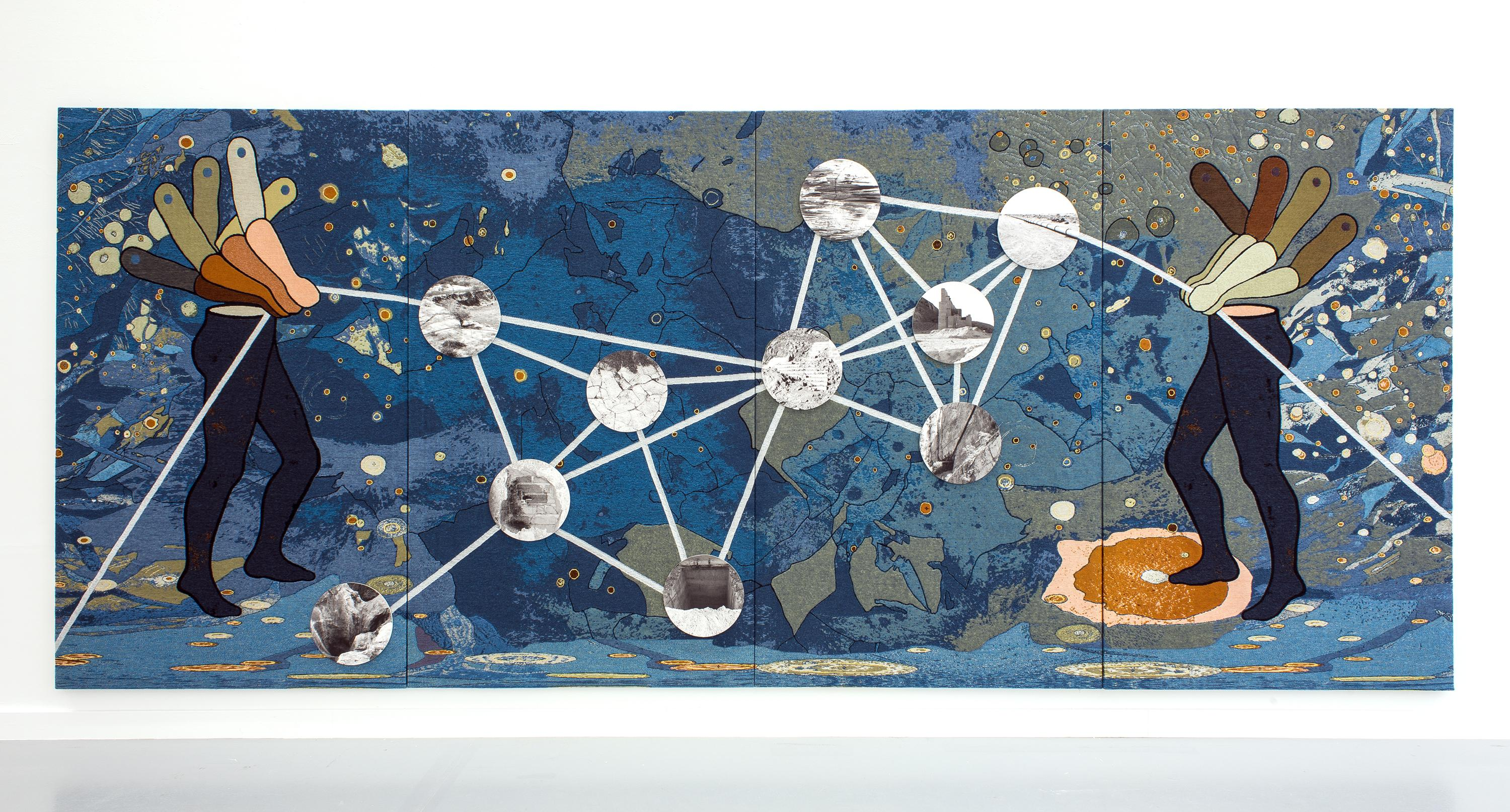 Two human half-figures hold a line connecting a constellation of circles over a blue marbled background.