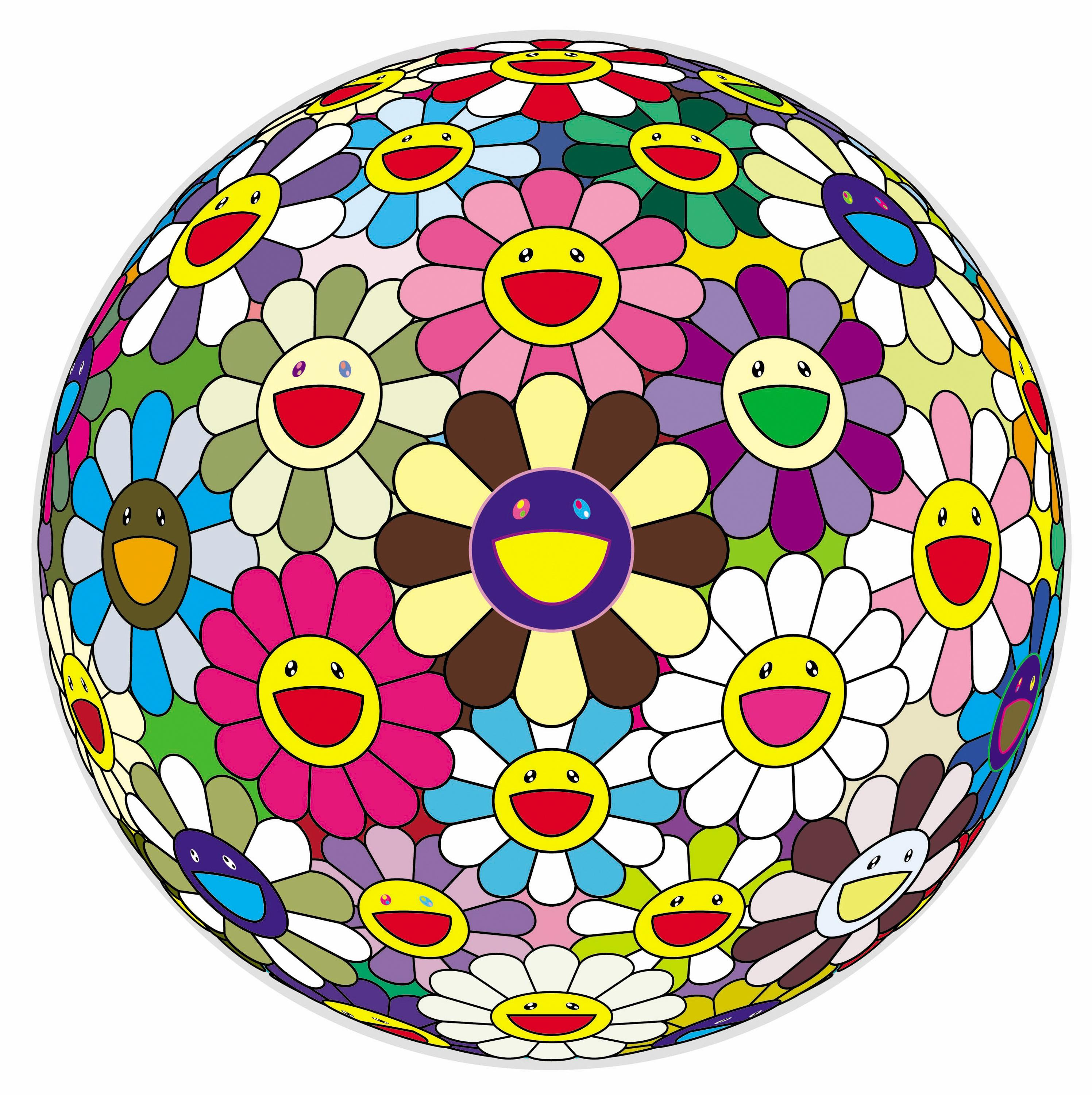 A sphere is covered with illustrated flowers with joyous faces in various colors.