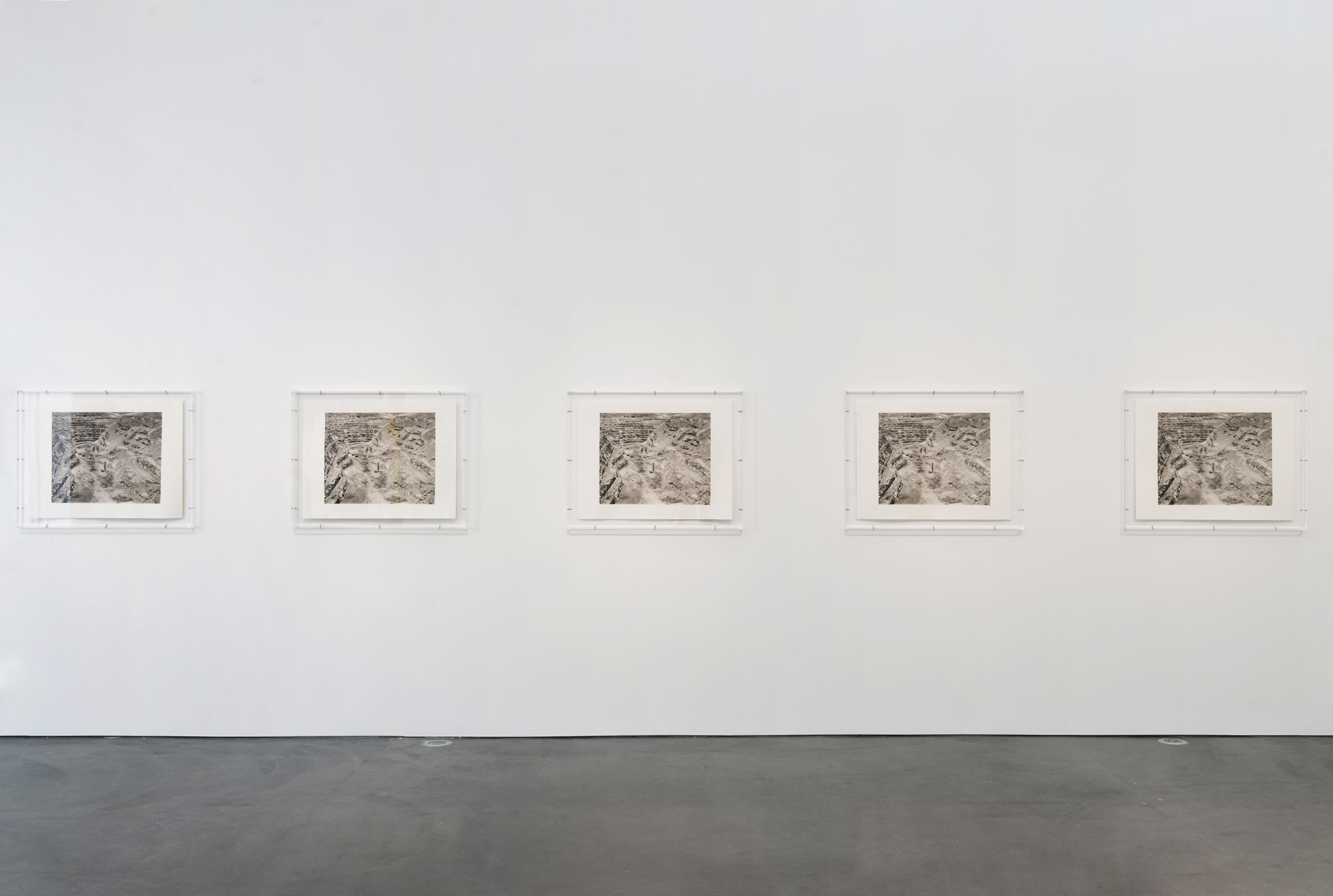 Five grayscale rectangular photographs hang in a horizontal line on a white gallery wall.