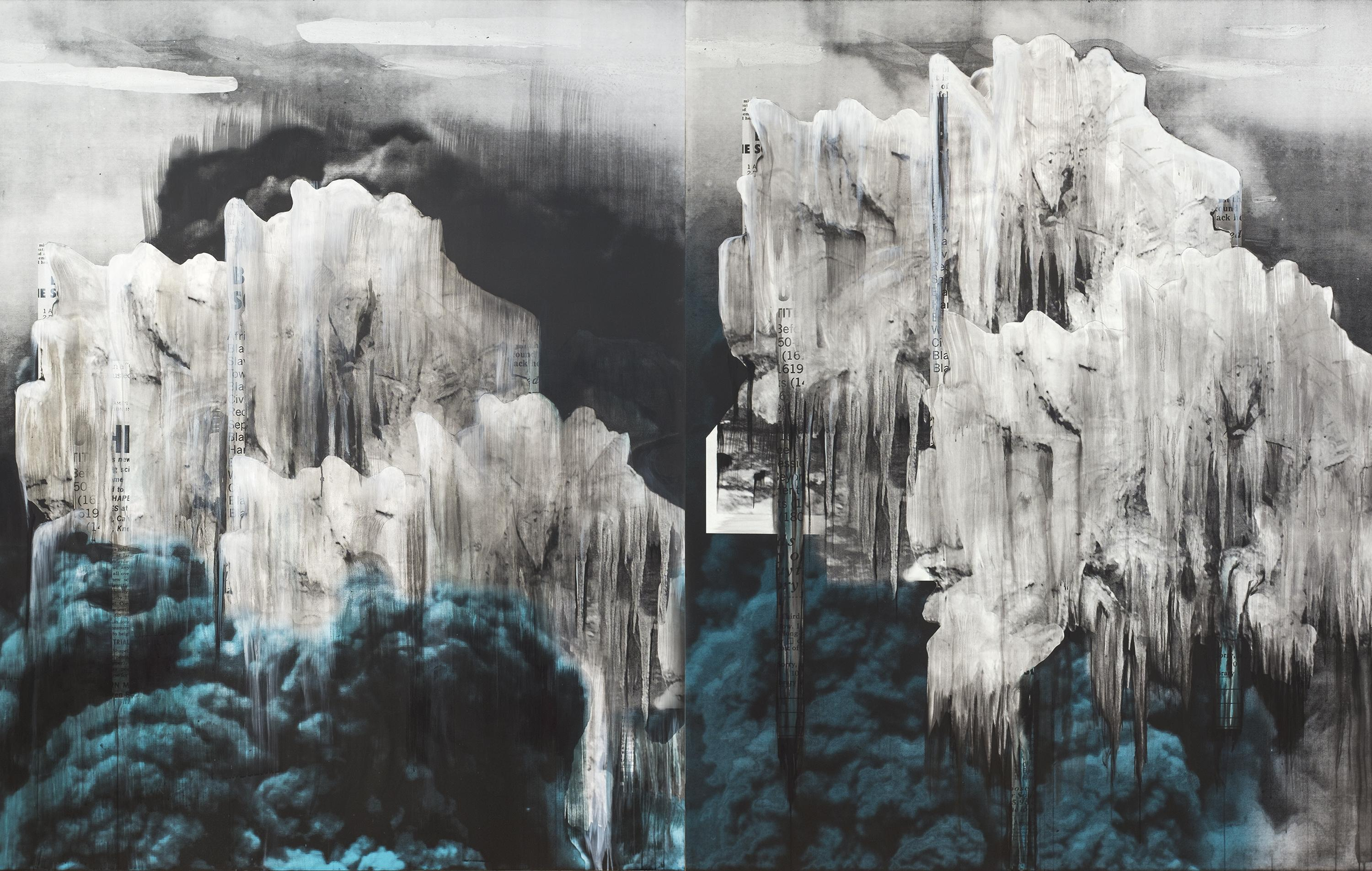 White icicle-like formations layered above plumes of blue smoke fill two side-by-side panels.
