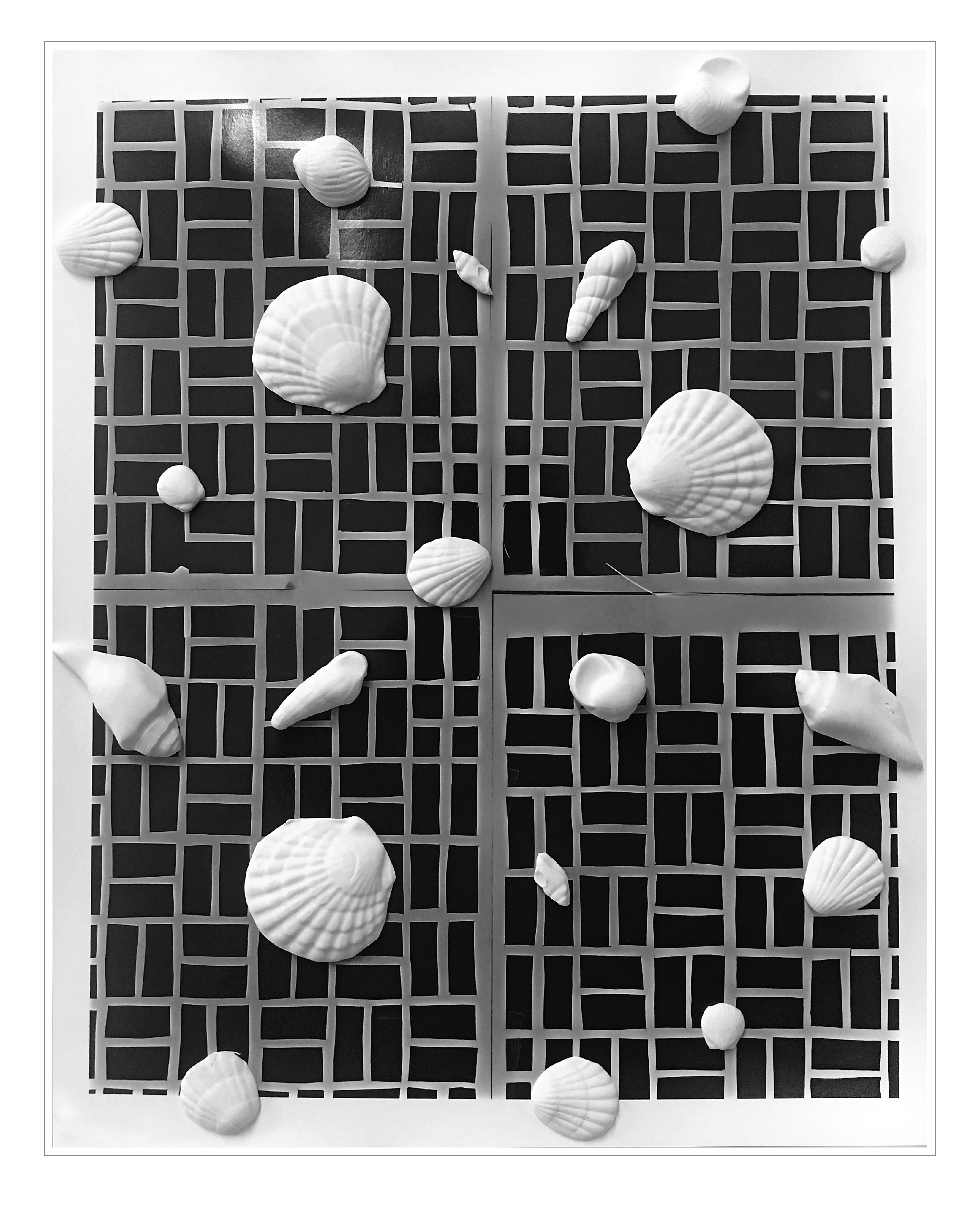 A scattering of white seashell sculptures evenly distributed on a black gridlike pattern.