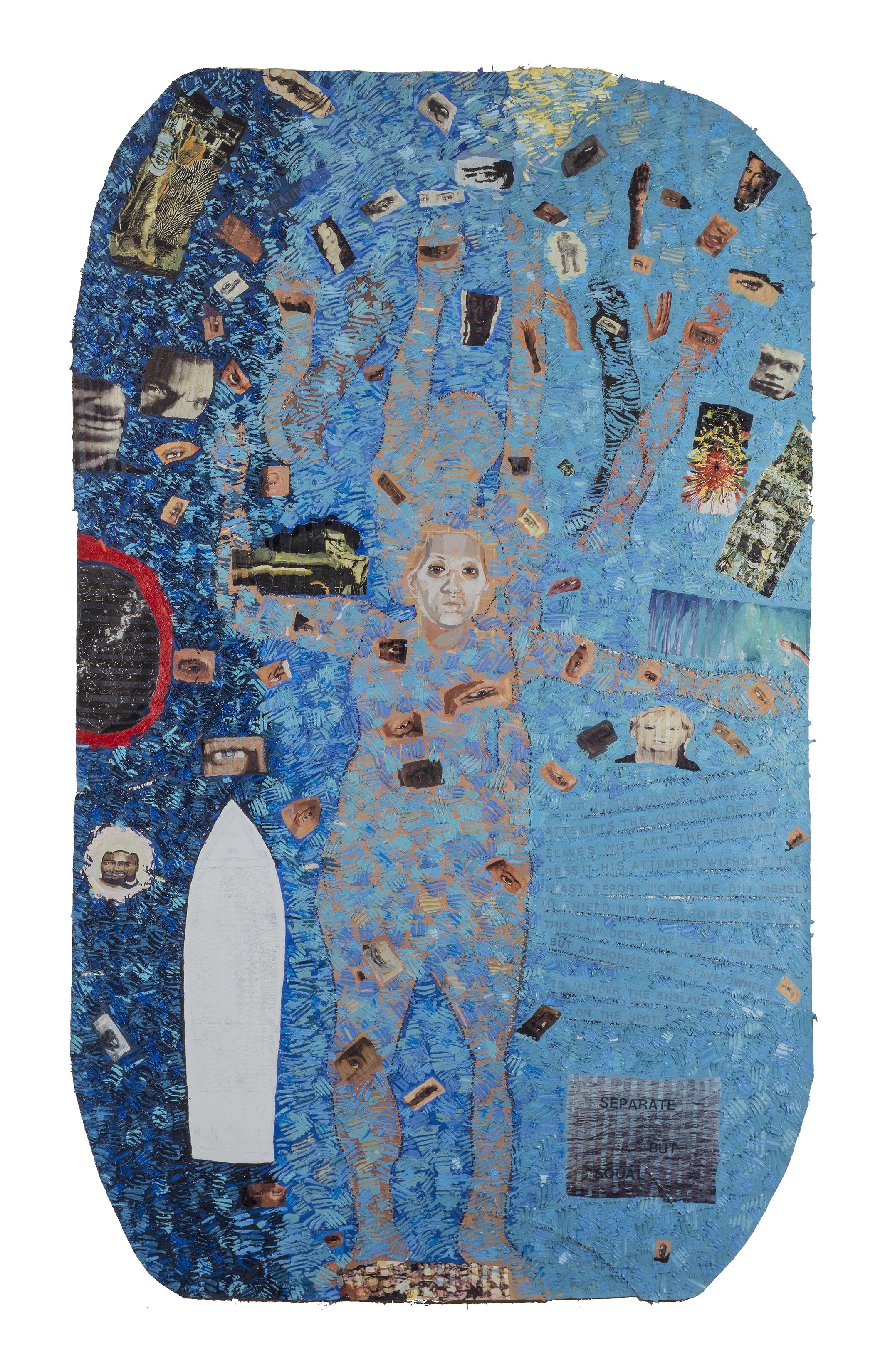 A vertical painting with a blue background includes a large human form at its center, surrounded and partially covered by smaller images of eyes, faces, and hands. These smaller images appear collage-like, as if cut from other sources.