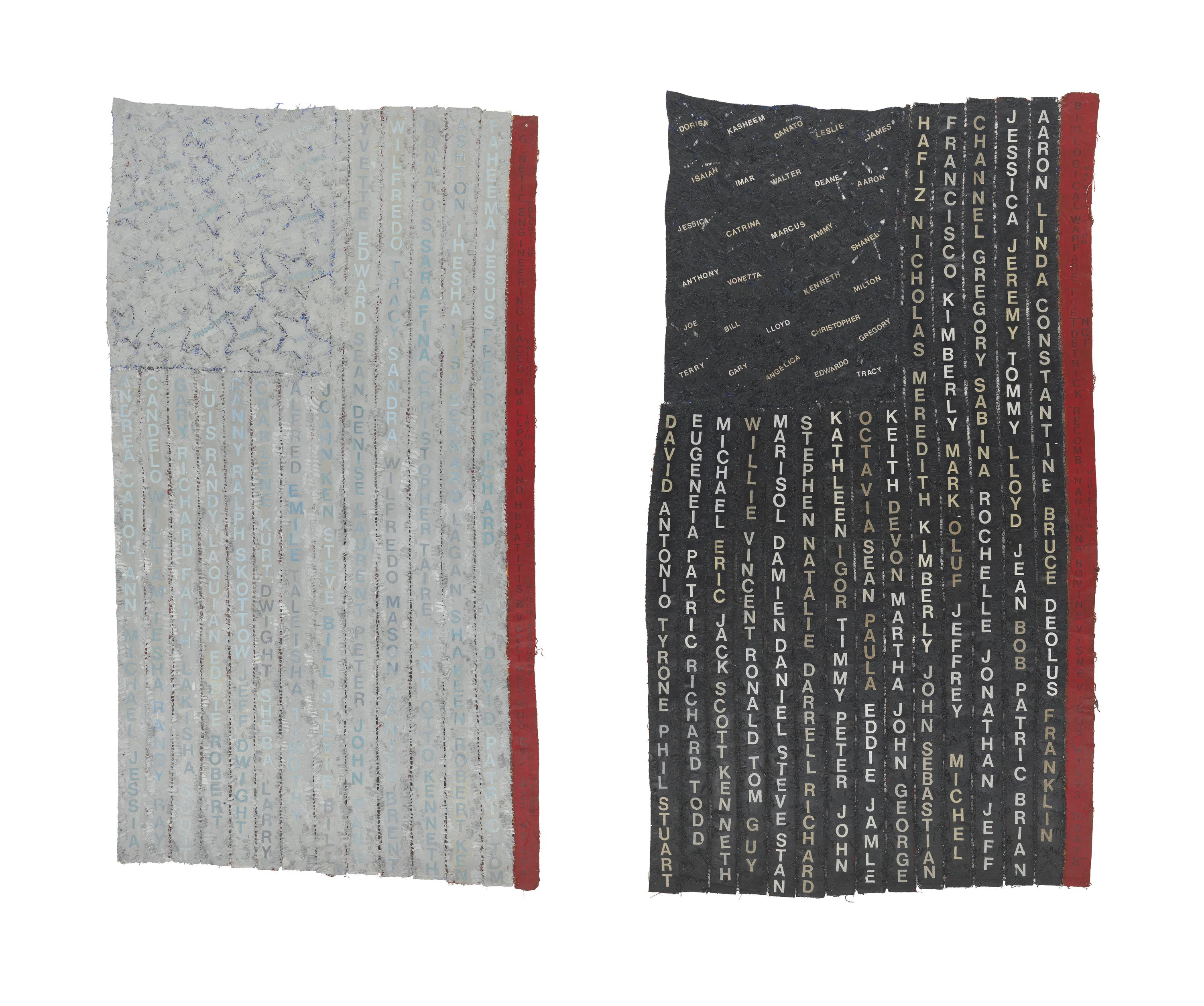 Two flag-like rectangles—on the left light gray and on the right dark gray—hang vertically side by side, each with fourteen rows of vertically stacked first names.