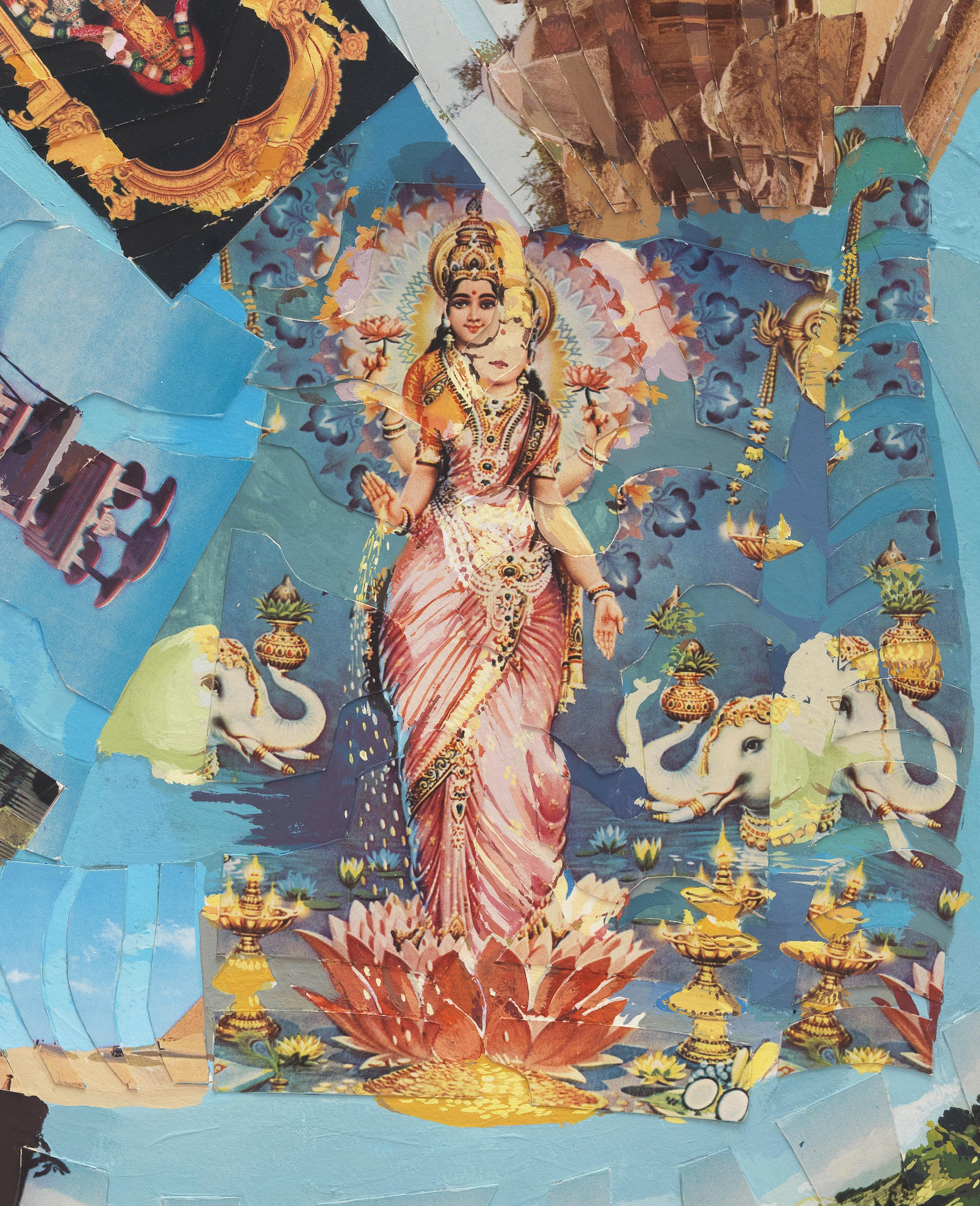 A blue collage depicts a crowned woman in a pink sari who stands in a large flower surrounded by three elephant heads, golden lamps, and other ornamental patterns.