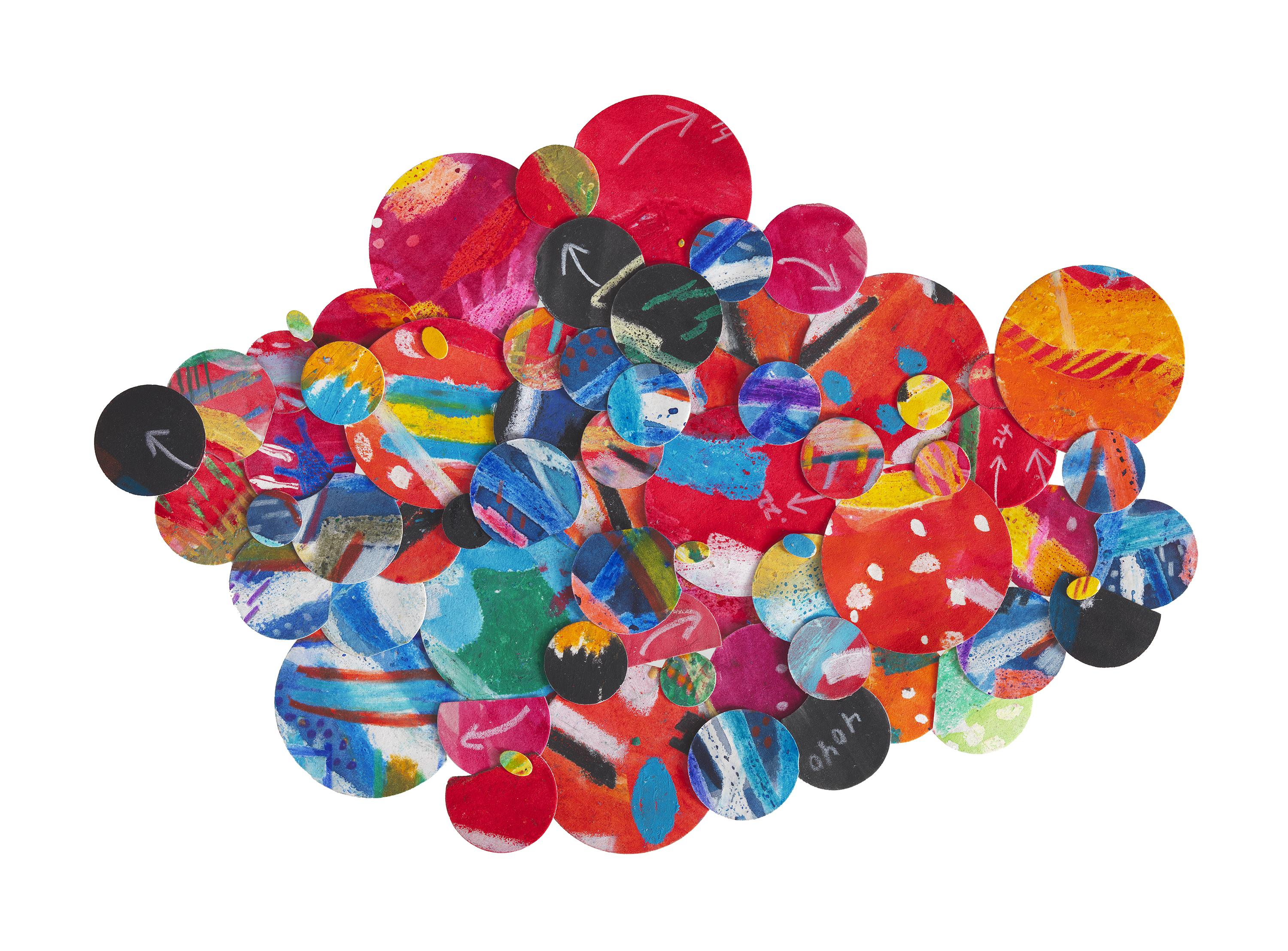 A collage of circles of various sizes and colors are clustered together.