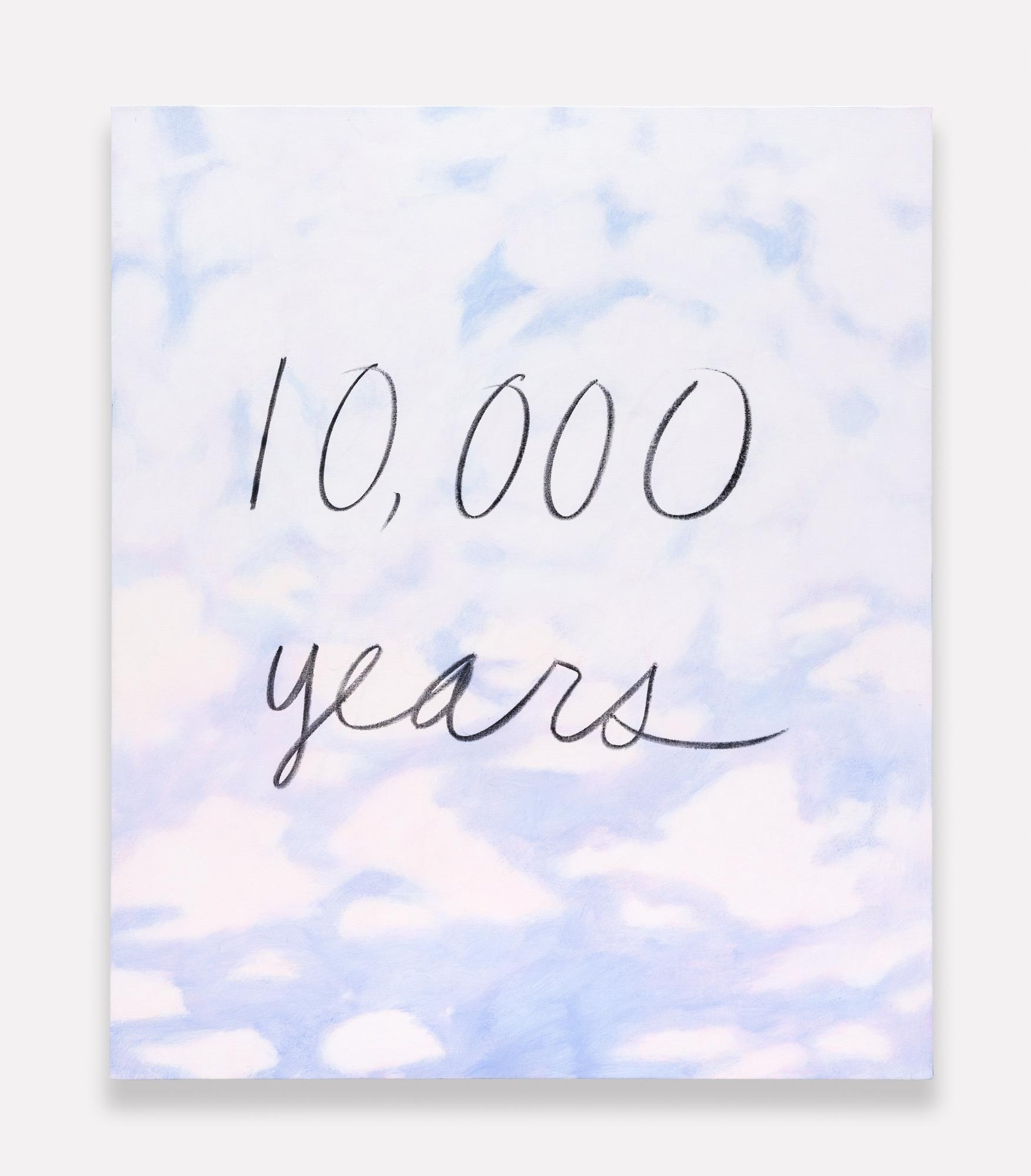 """On a background of soft pink and purple clouds, """"10,000 years"""" is written in cursive letters with a black smudged material."""