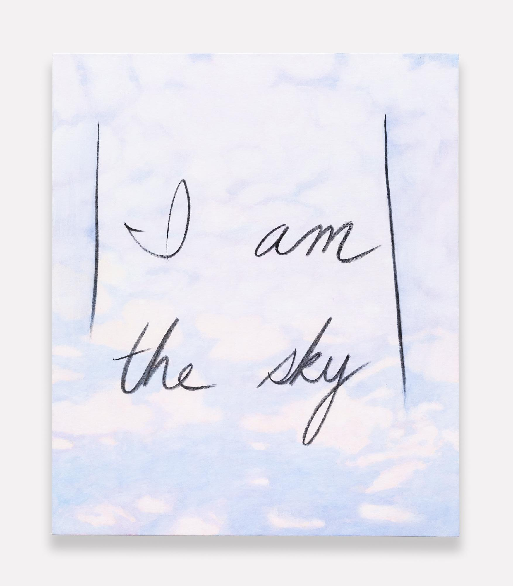 """On a background of soft pink and purple clouds, """"I Am the Sky"""" is written in large cursive letters with a black smudgy material."""