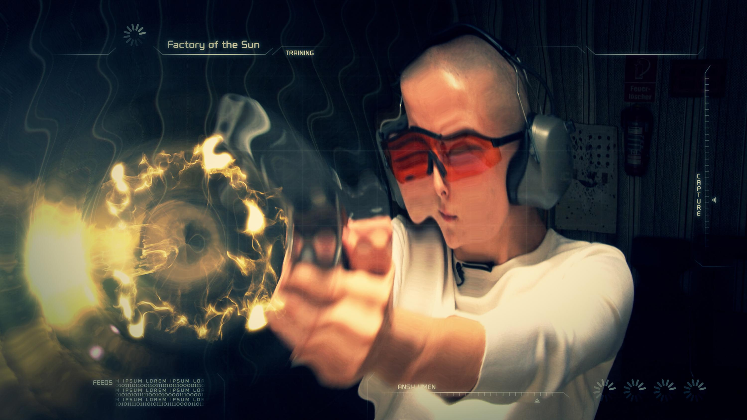 A light-skinned person with a shaved head and orange safety glasses fires a gun toward you. The image is warped in ripples, as if to visualize the bullet's path through the air.