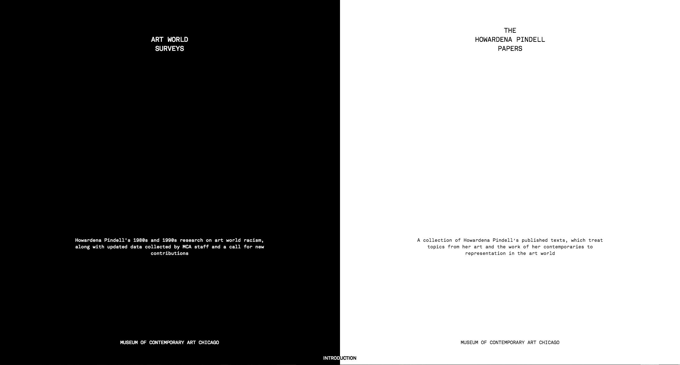 """A digital screenshot shows a half white, half black website with text that reads """"Art World Surveys"""" and """"The Howardena Pindell Papers."""""""