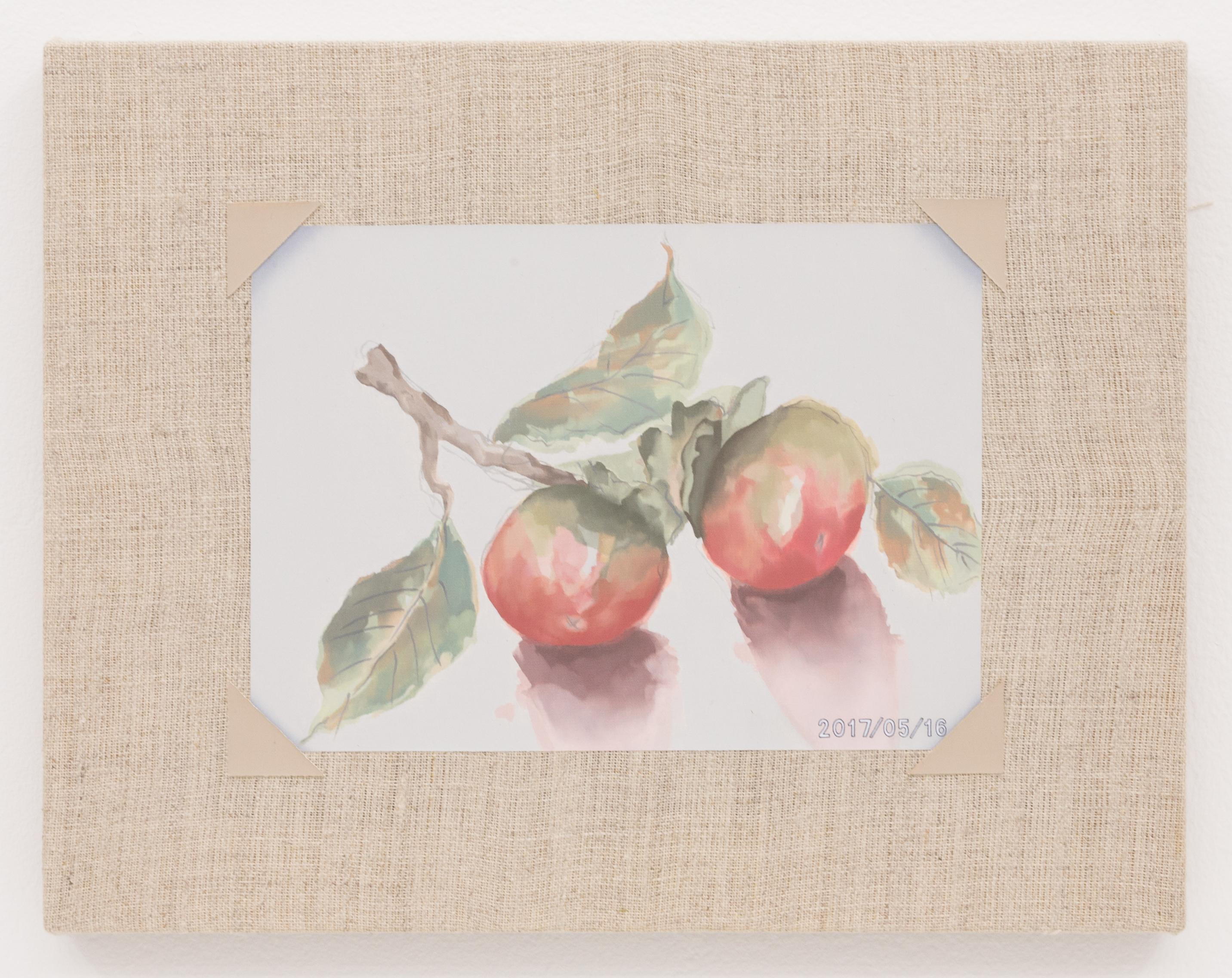 A muted watercolor painting of two red and green fruits with large leaves.