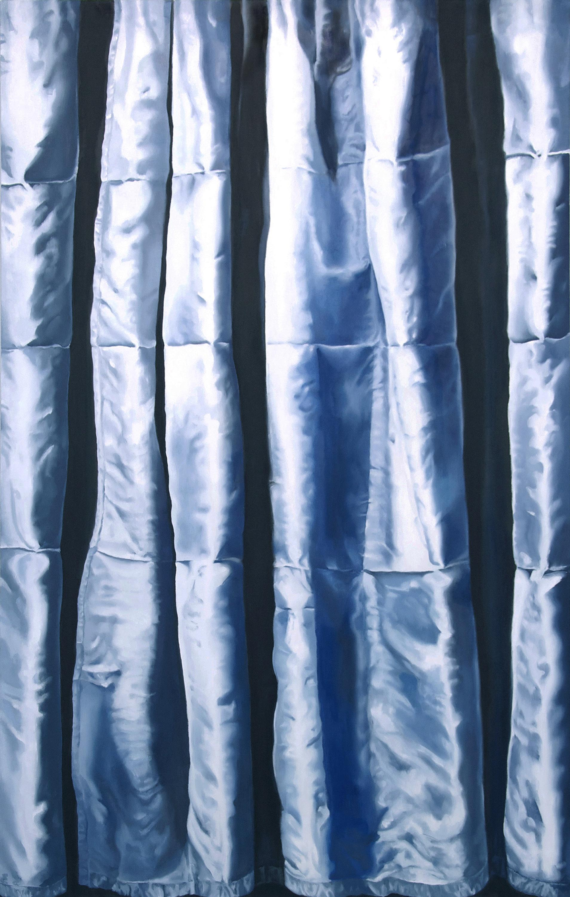 A vertical painting portrays a close-up view of a light blue, satiny fabric.