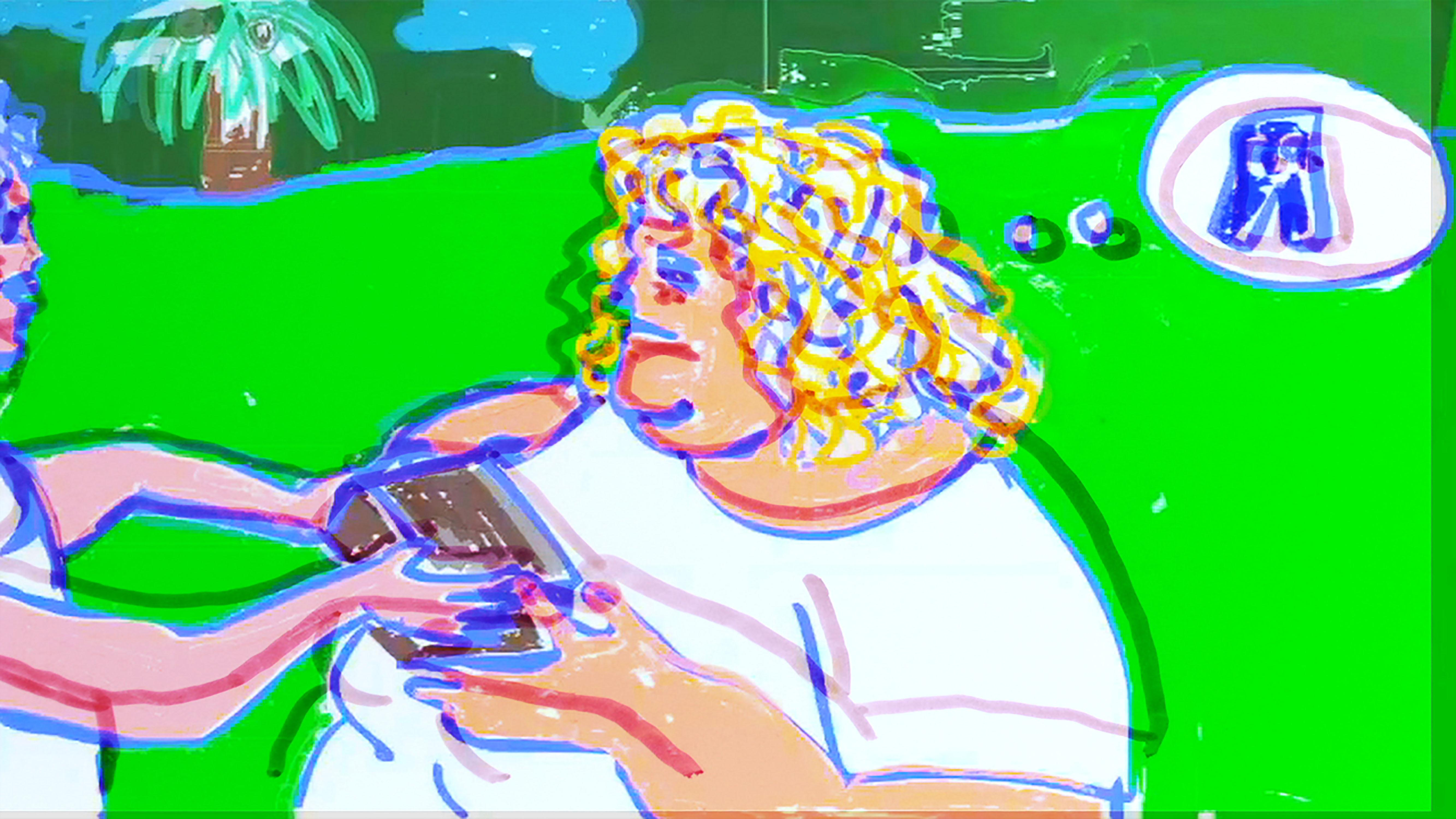 In a loosely rendered digital illustration, a person hands an object resembling a box or book to a blonde woman in the center of the frame. Emerging from the blonde woman's head is a thought bubble containing a pair of blue jeans.