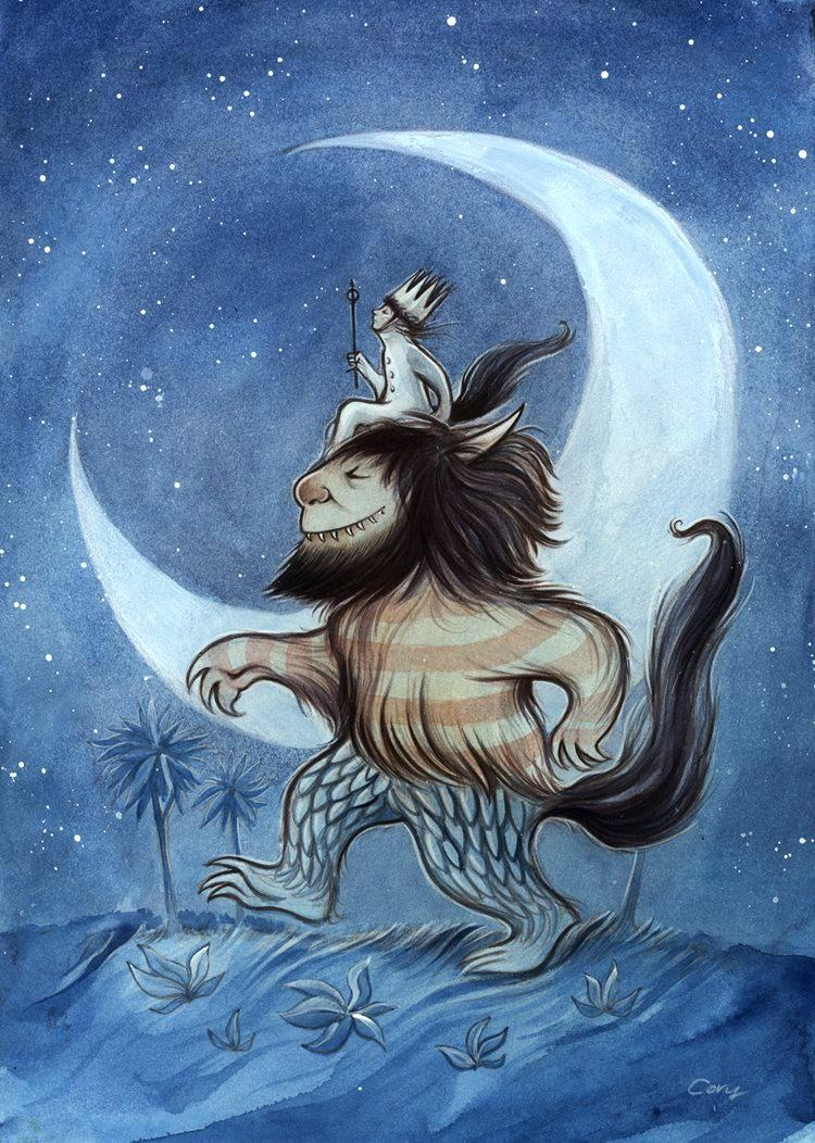 Max from Where the Wild Things Are sits atop the head of a monster. Behind them, a giant crescent moon illuminates the scene.