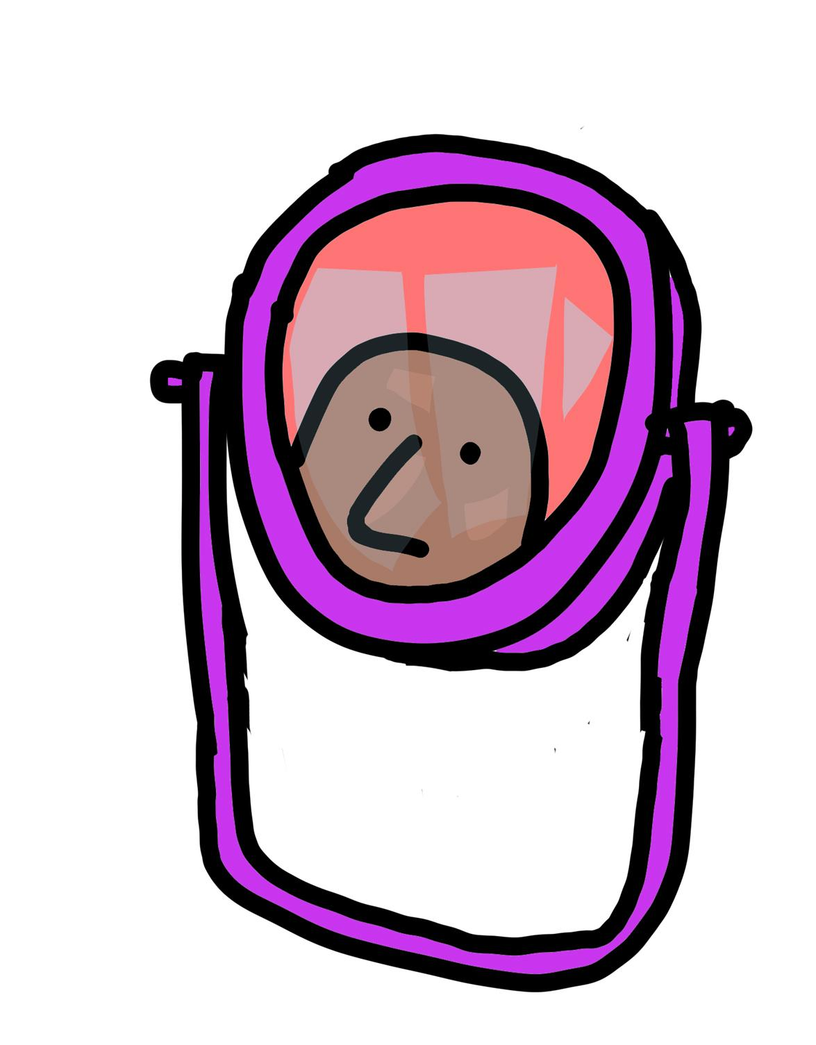 A simple illustration shows a bald dark-skinned person peering into a purple mirror.