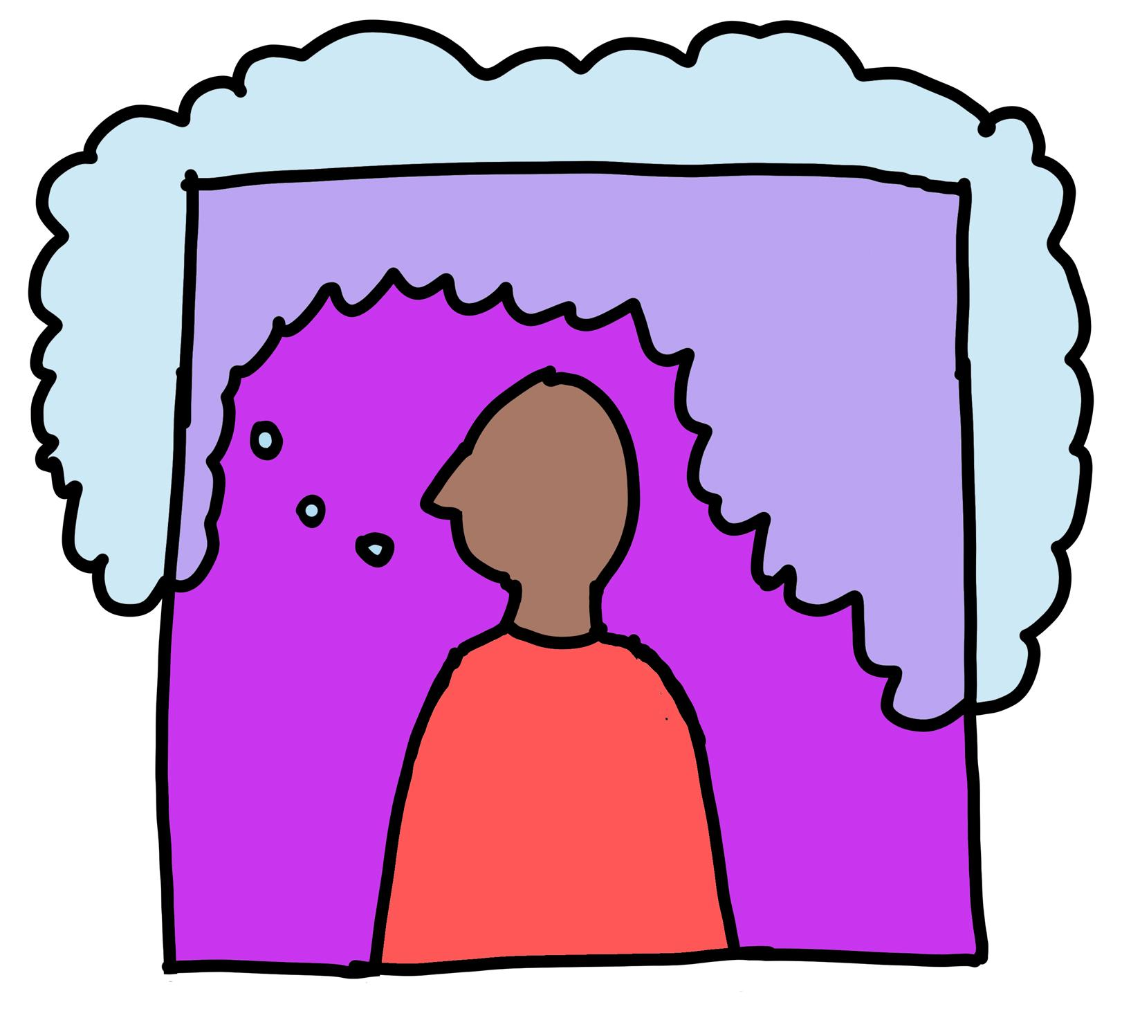 A simplistic drawing shows a dark-skinned person with a large thought bubble.