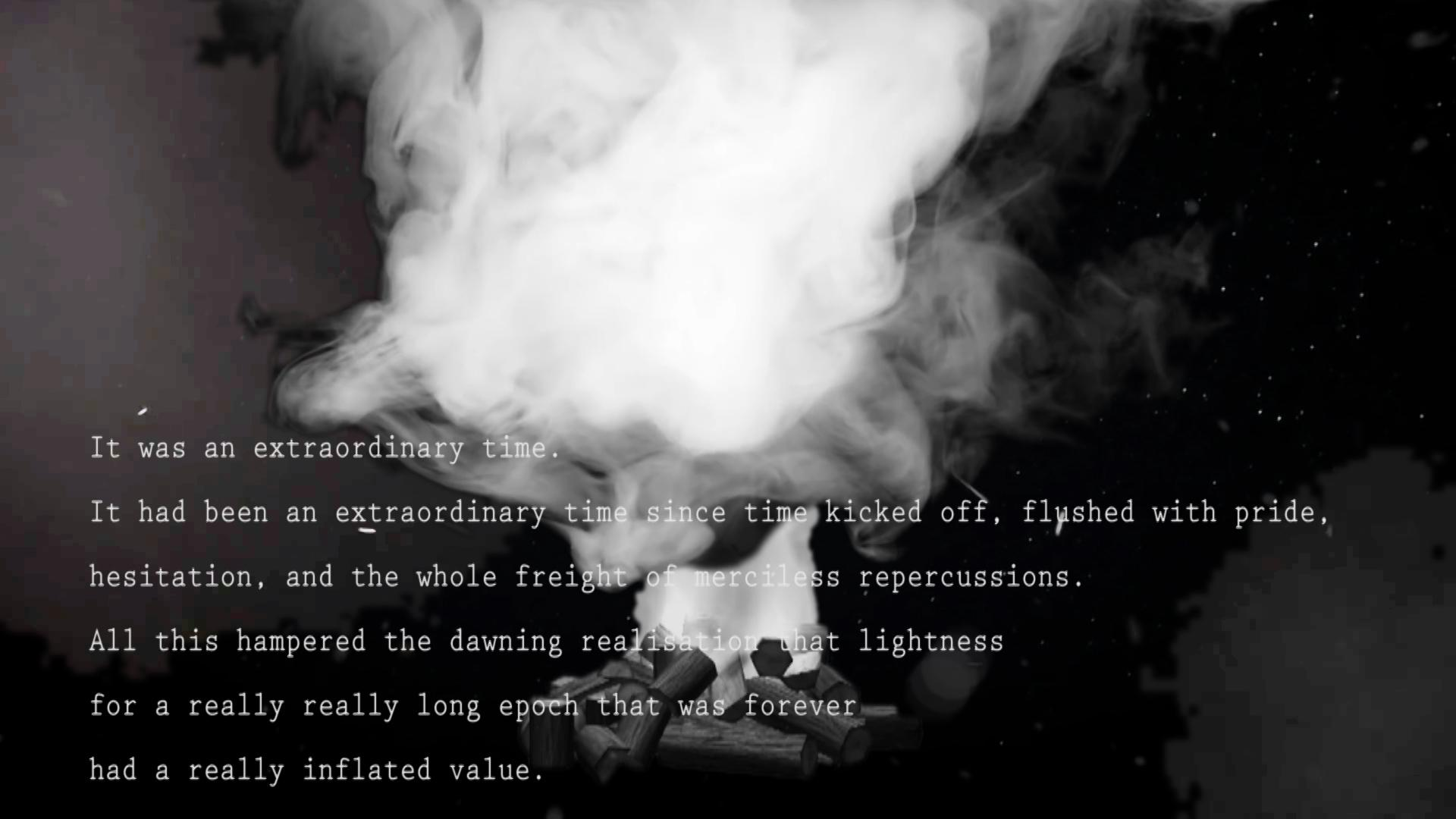 Six lines of white computer text appear over a black-and-white image of a digitally rendered bonfire creating billowing white smoke.
