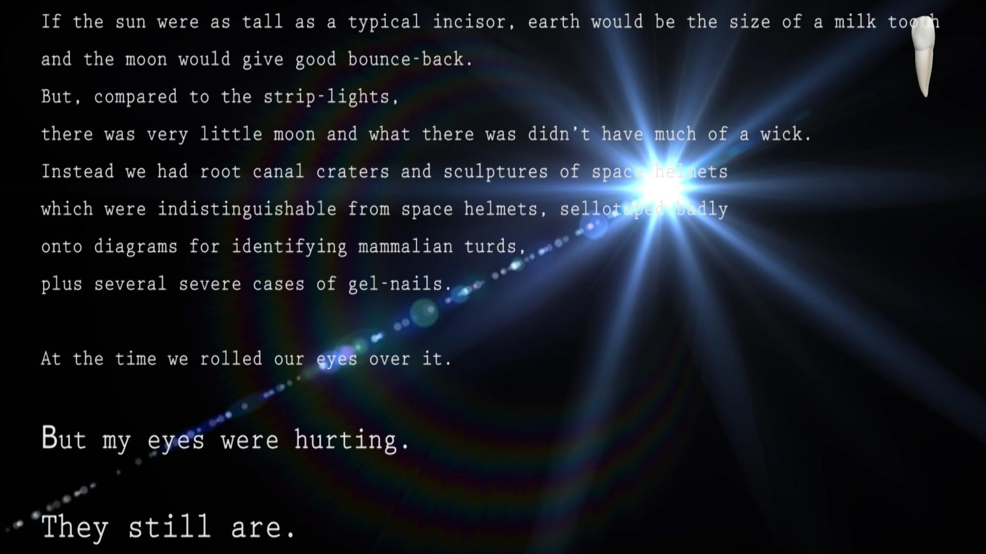Eleven lines of white computer text appear over an image of a blue starburst or lens flare against a black background.
