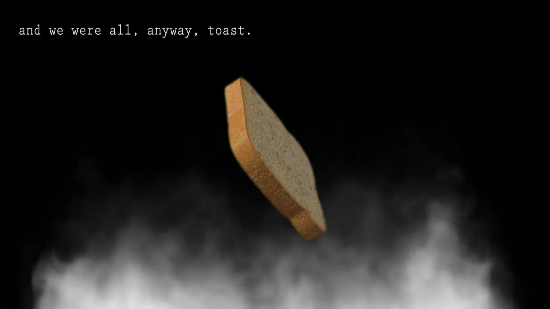 """A digitally rendered image of a piece of sandwich bread appears in front of a smoky black-and-white background. White text in the upper-left corner reads """"and we were all, anyway, toast."""""""