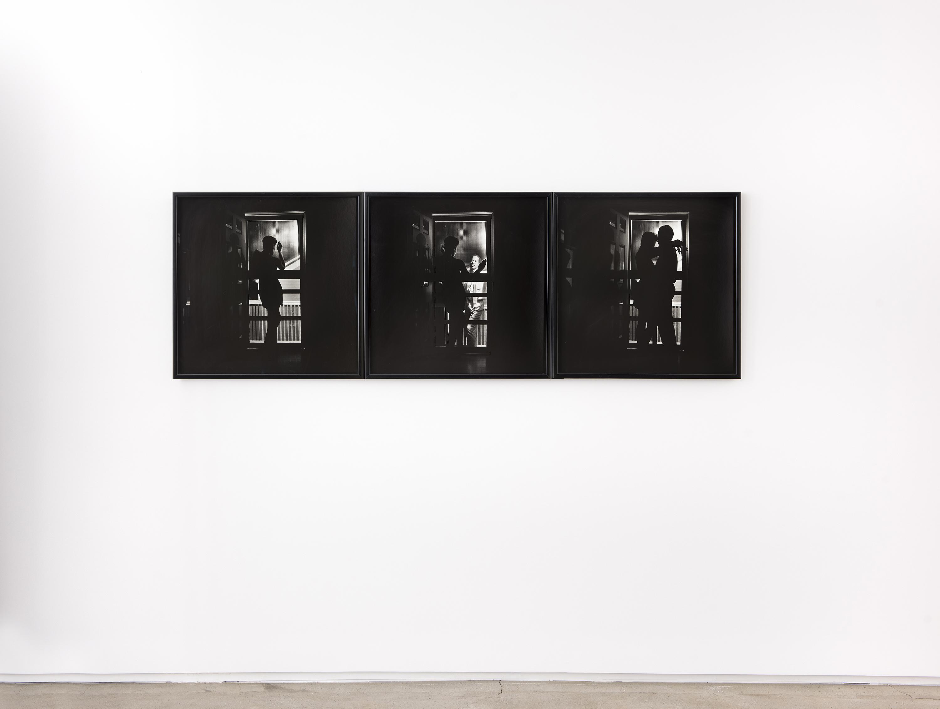 In a black-and-white triptych, the silhouette of a woman is visible holding a cigarette and looking out a doorway. In the second photo, a man appears at the door, and in the third, the silhouetted man and woman embrace.