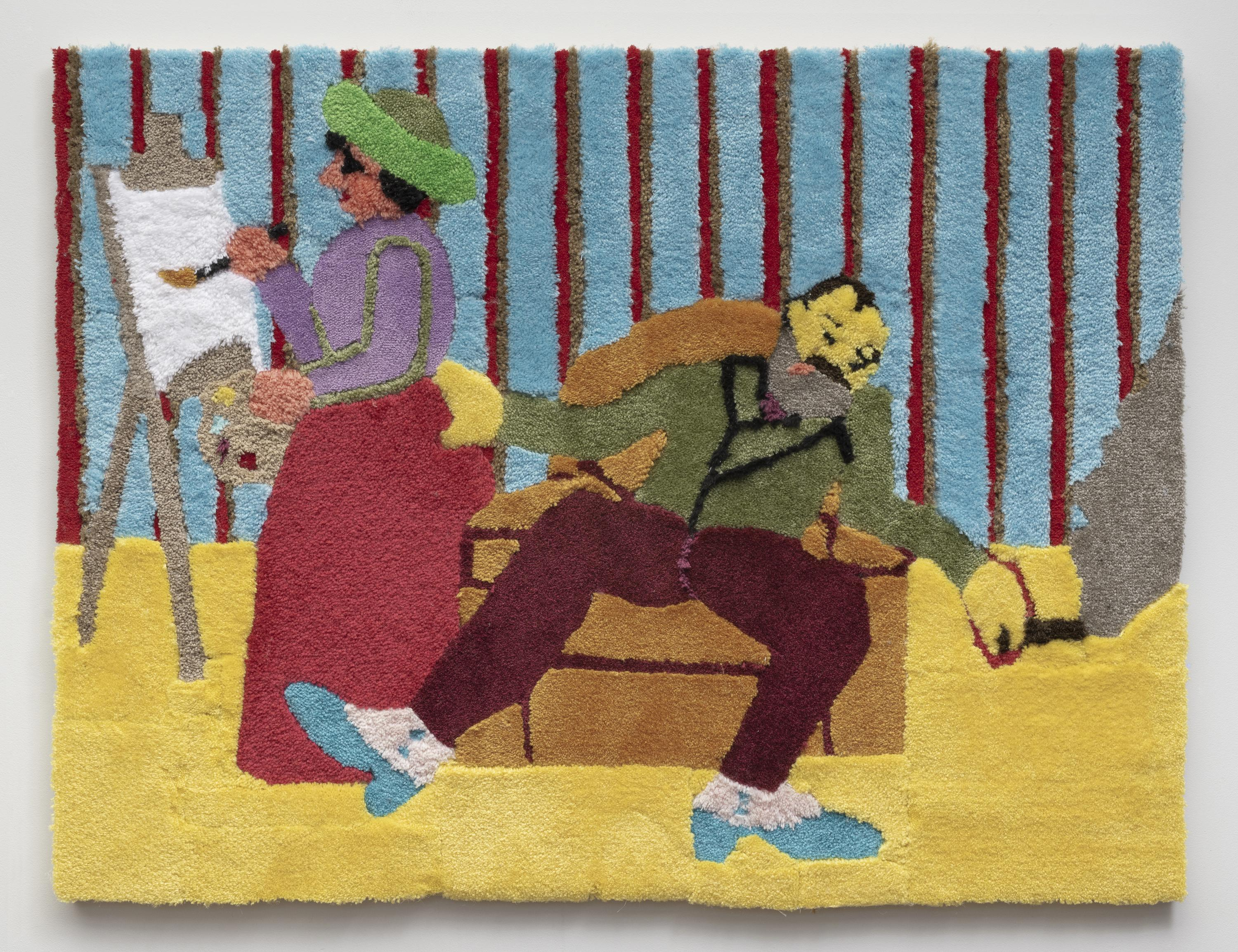 A lopsided man who appears inebriated sits jauntily in a chair. One of his hands holds a smoking cigar while the other rests on the curvaceous butt of a nearby woman who stands, painting on an easel.
