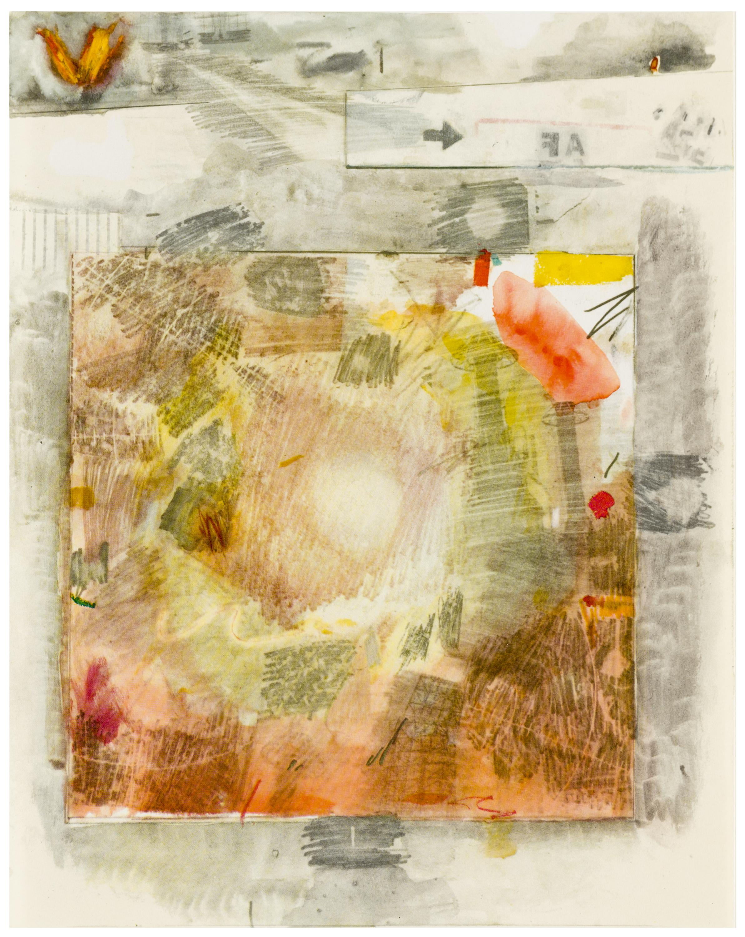 A square of warm, earthy scribbles of color is mounted on a background of gray similar smudges and scribbles.
