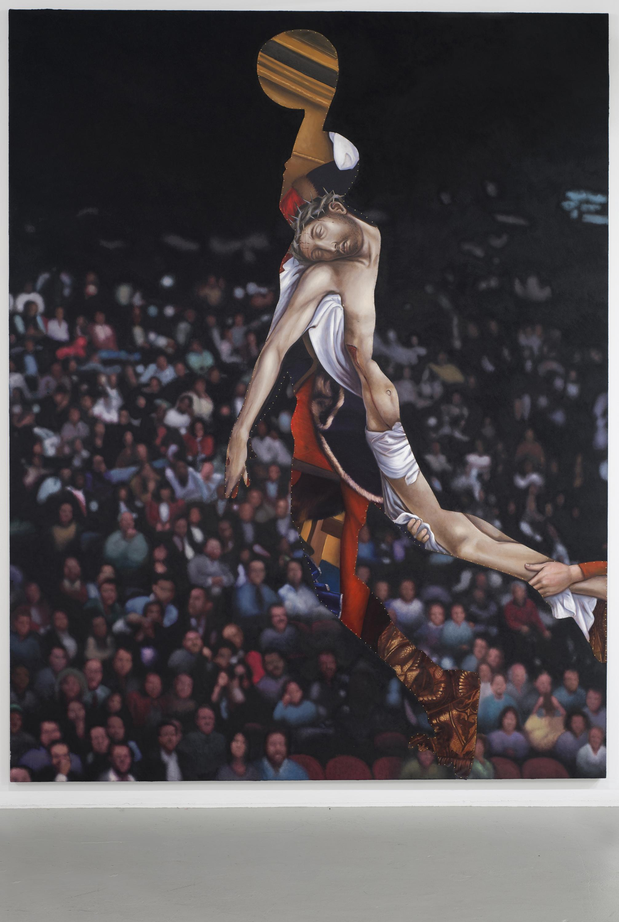 A basketball player leaping toward the hoop as if to dunk looks as if their body is collaged with an image of Jesus Christ wearing a crown of thorns. A large audience looks on.