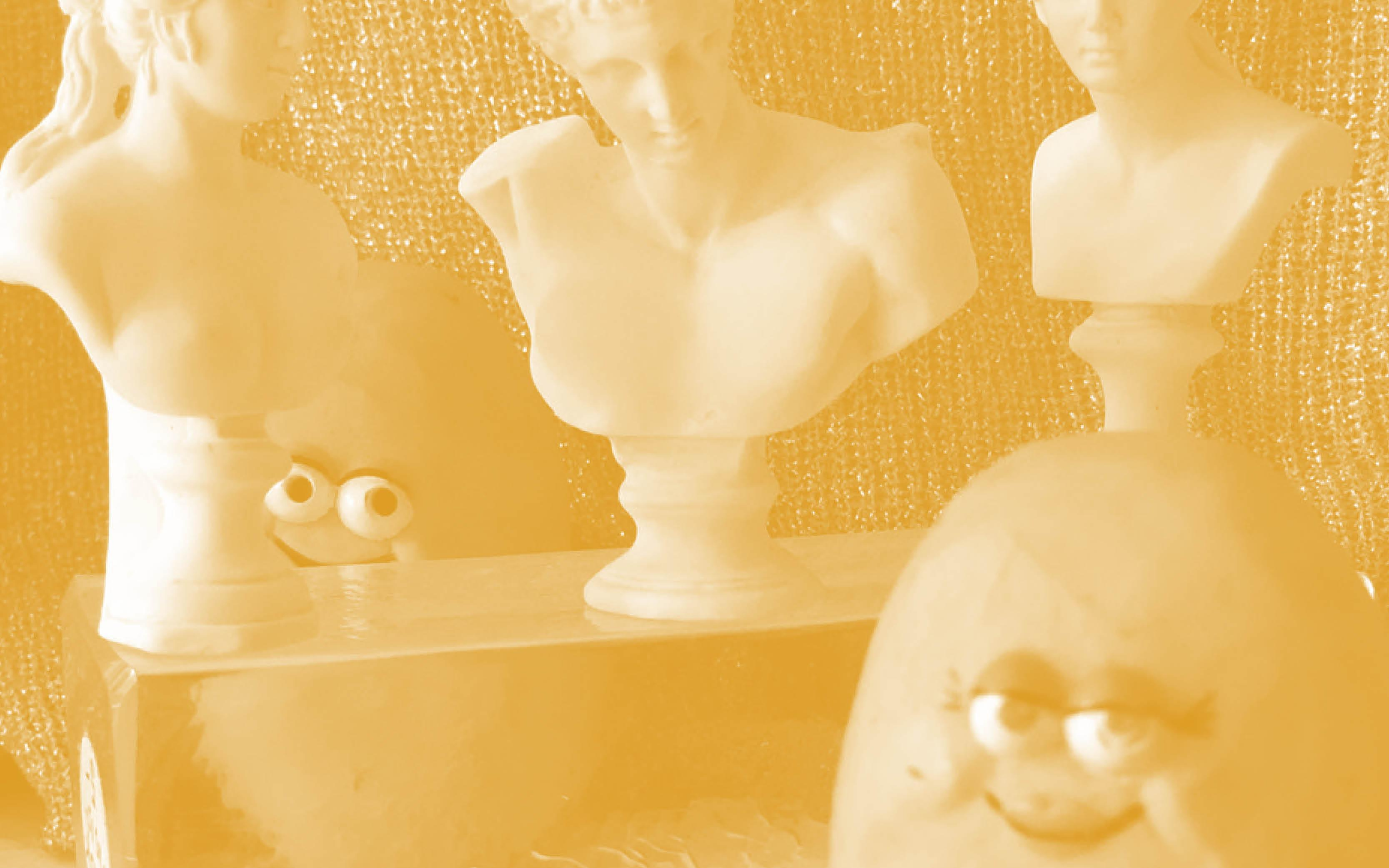 A yellow-tinged scene features three sculptural busts resting upright on a transparent pedestal. Two smiling McDonald's chicken nugget characters face forward in front of a shimmery backdrop.