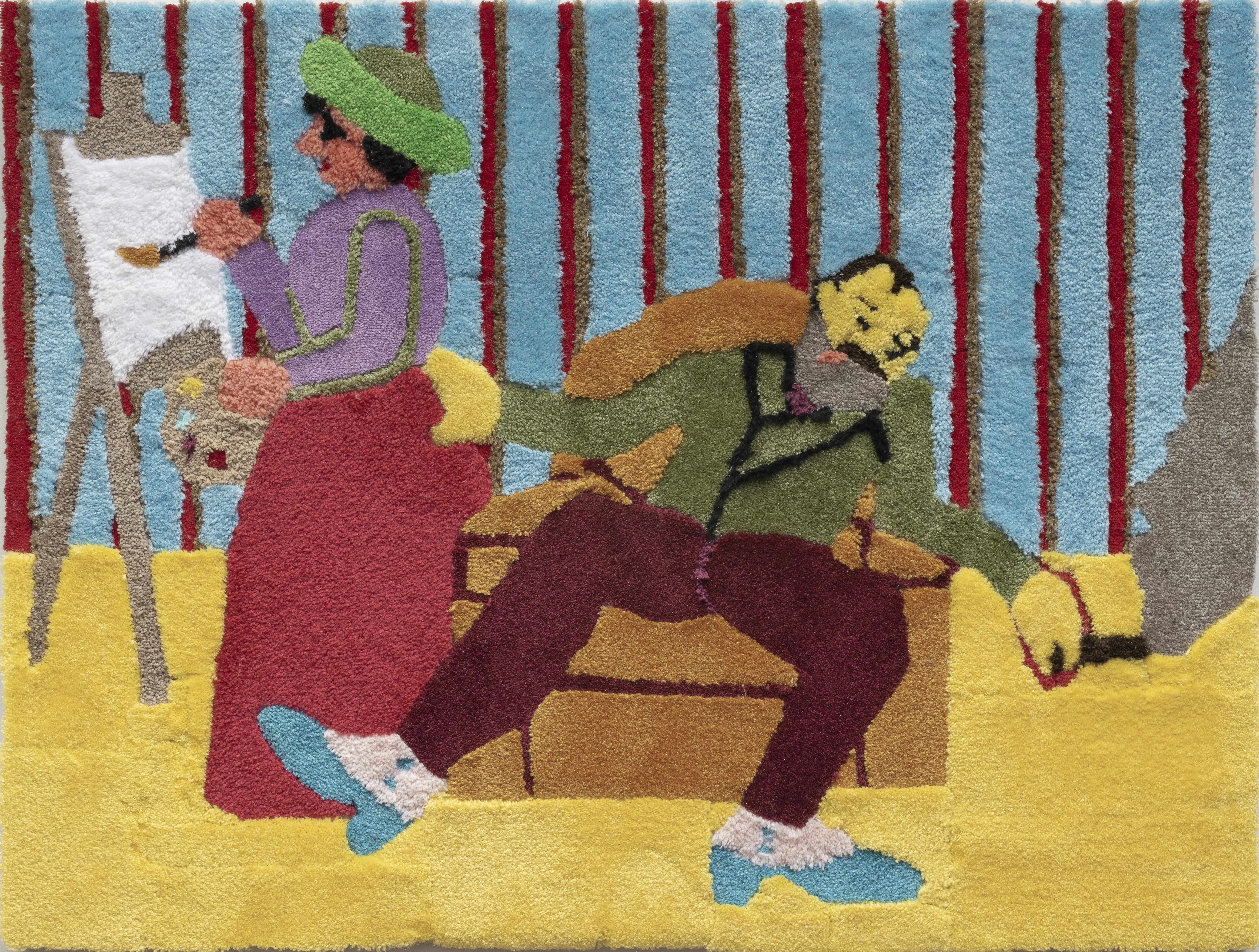 A scene rendered in carpet depicts a bearded figure smoking in an armchair while a person paints.