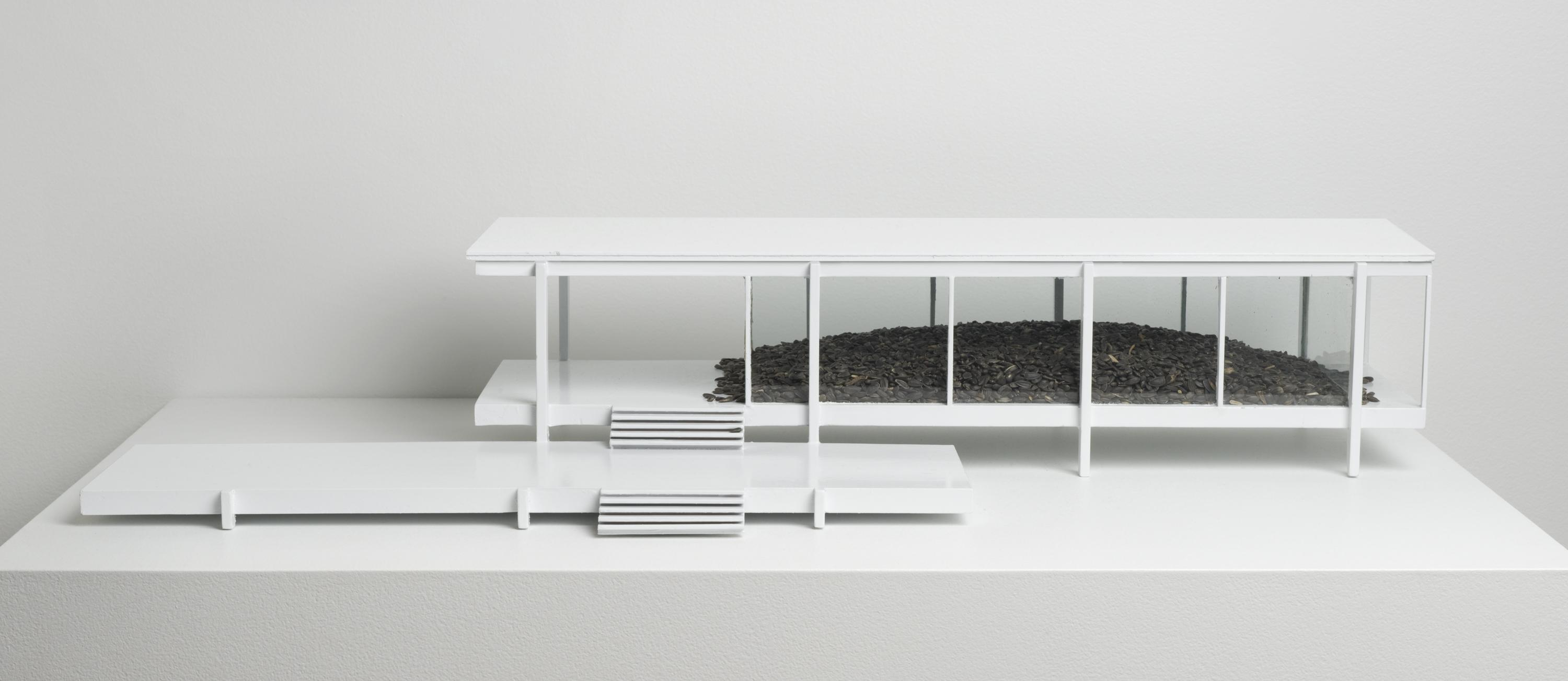 A model of a minimal, white building with floor-to-ceiling windows reveals an interior that holds a mound of dark, organic material.